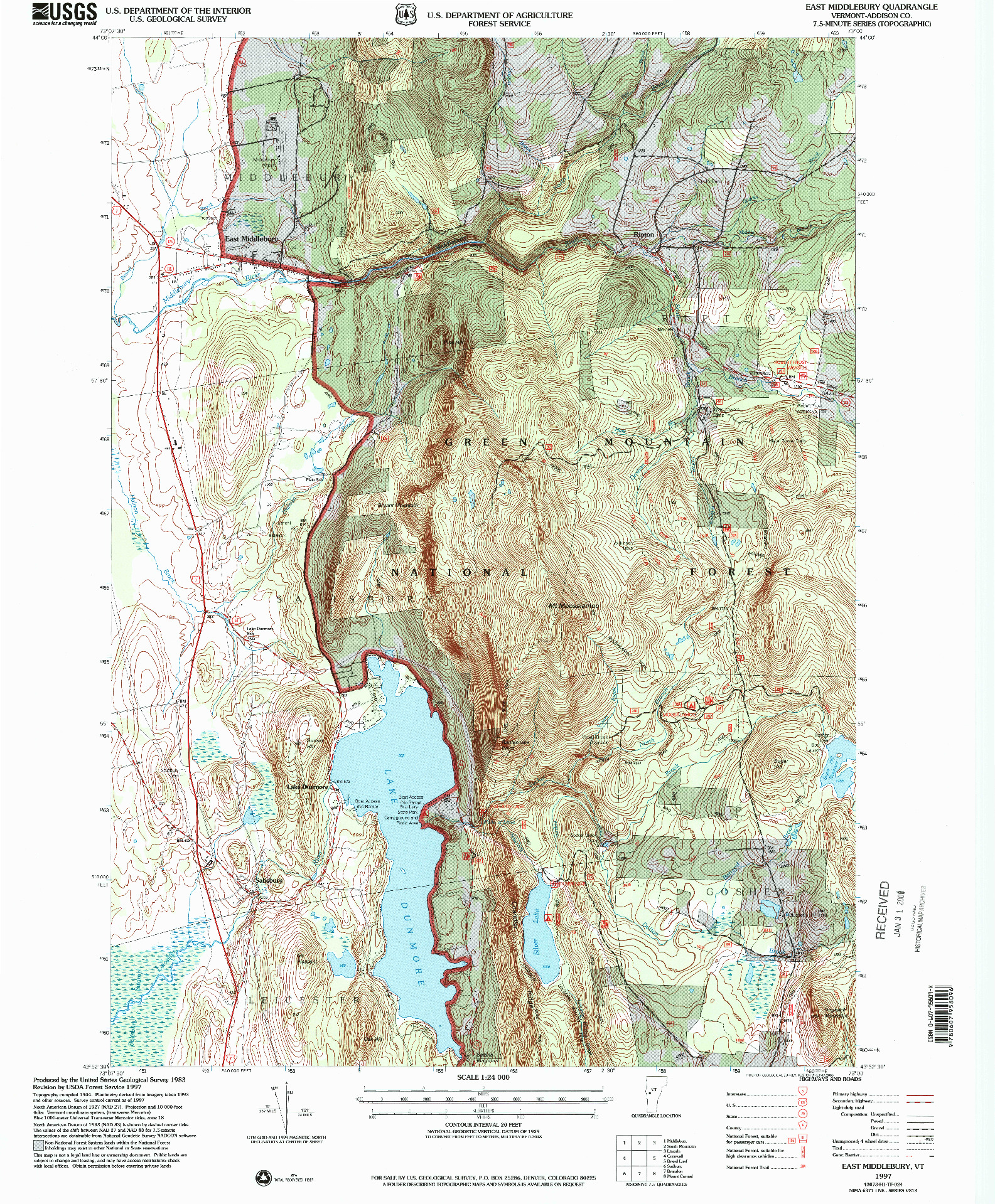 USGS 1:24000-SCALE QUADRANGLE FOR EAST MIDDLEBURY, VT 1997