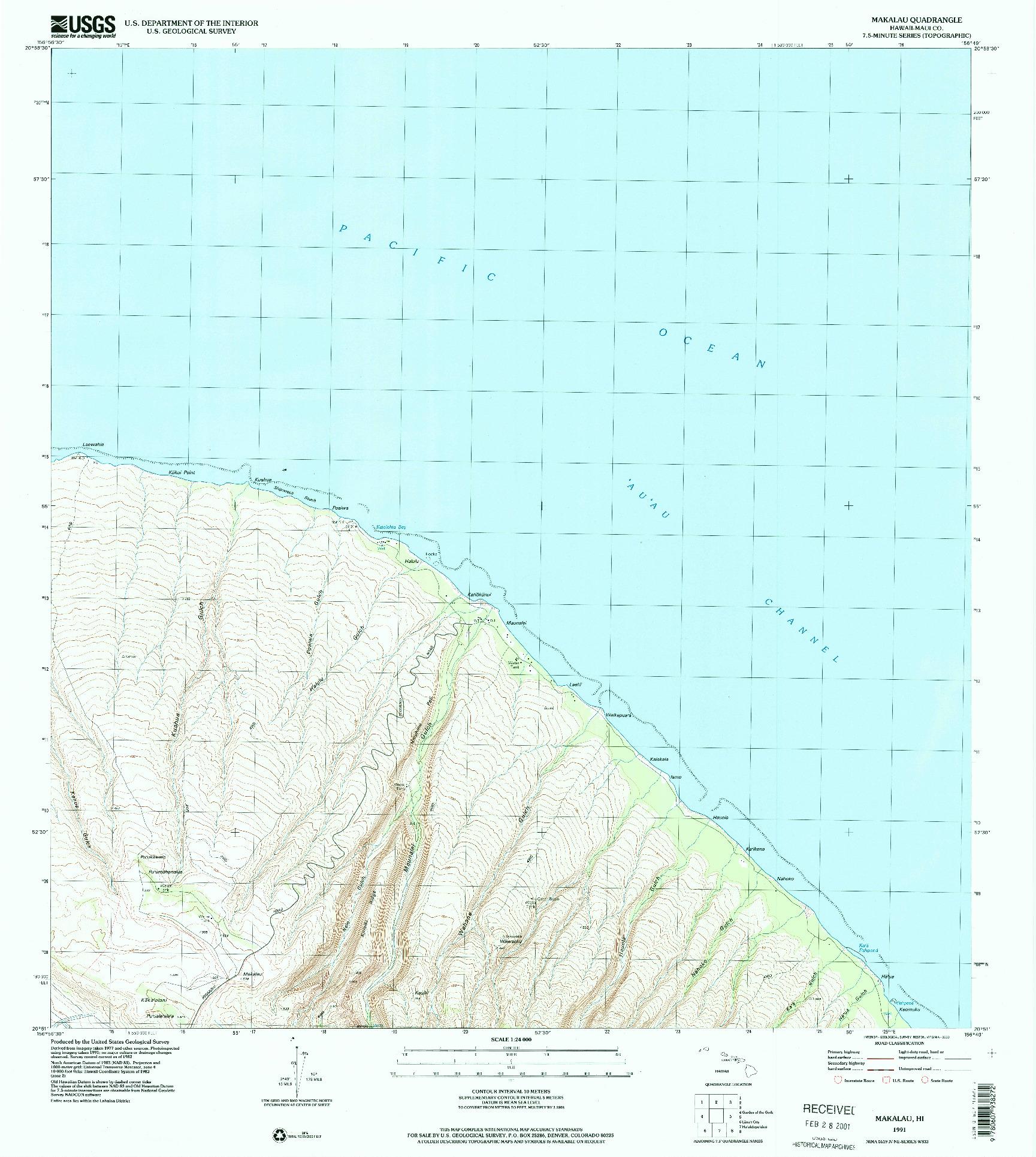 USGS 1:24000-SCALE QUADRANGLE FOR MAKALAU, HI 1991