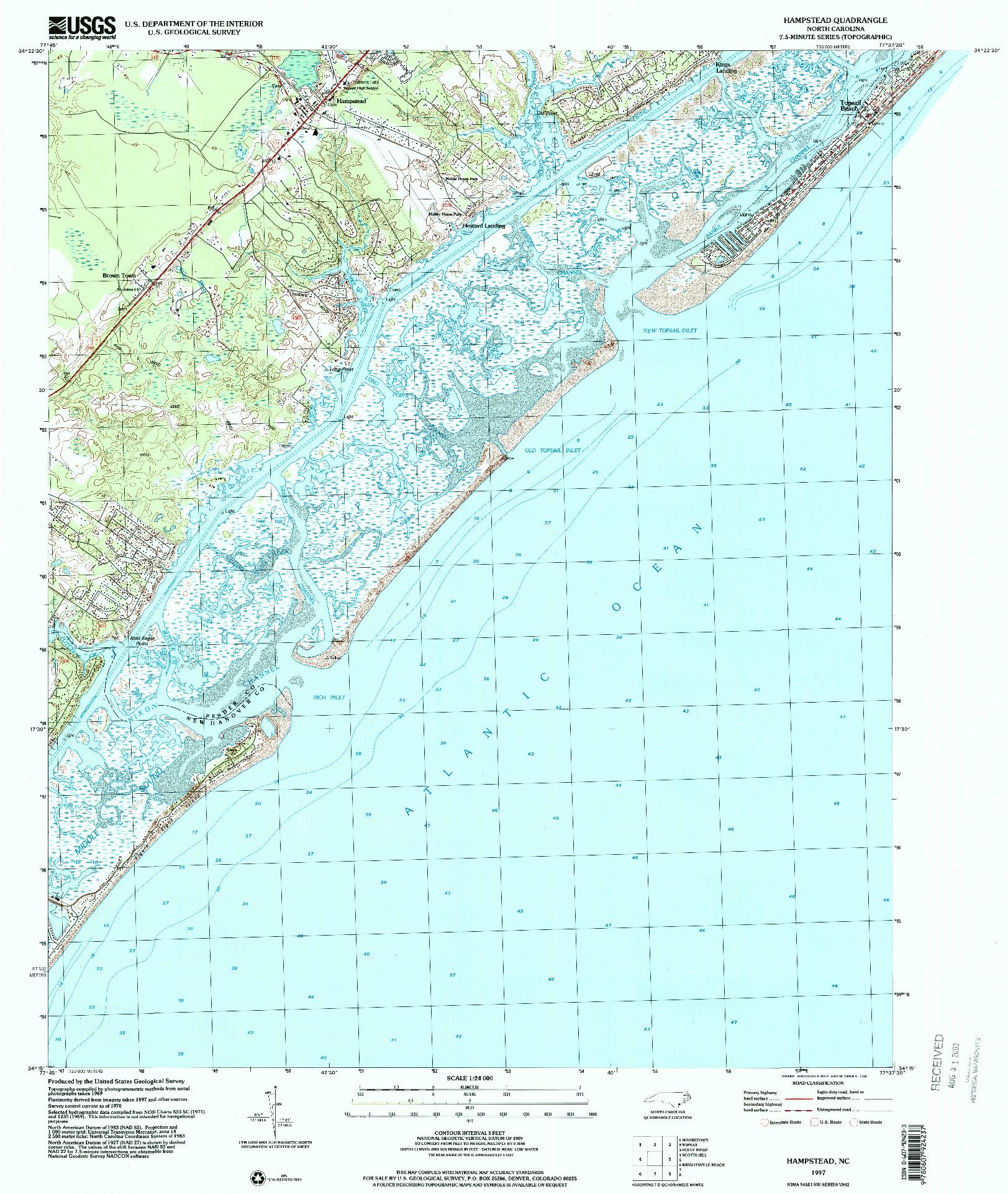 USGS 1:24000-SCALE QUADRANGLE FOR HAMPSTEAD, NC 1997