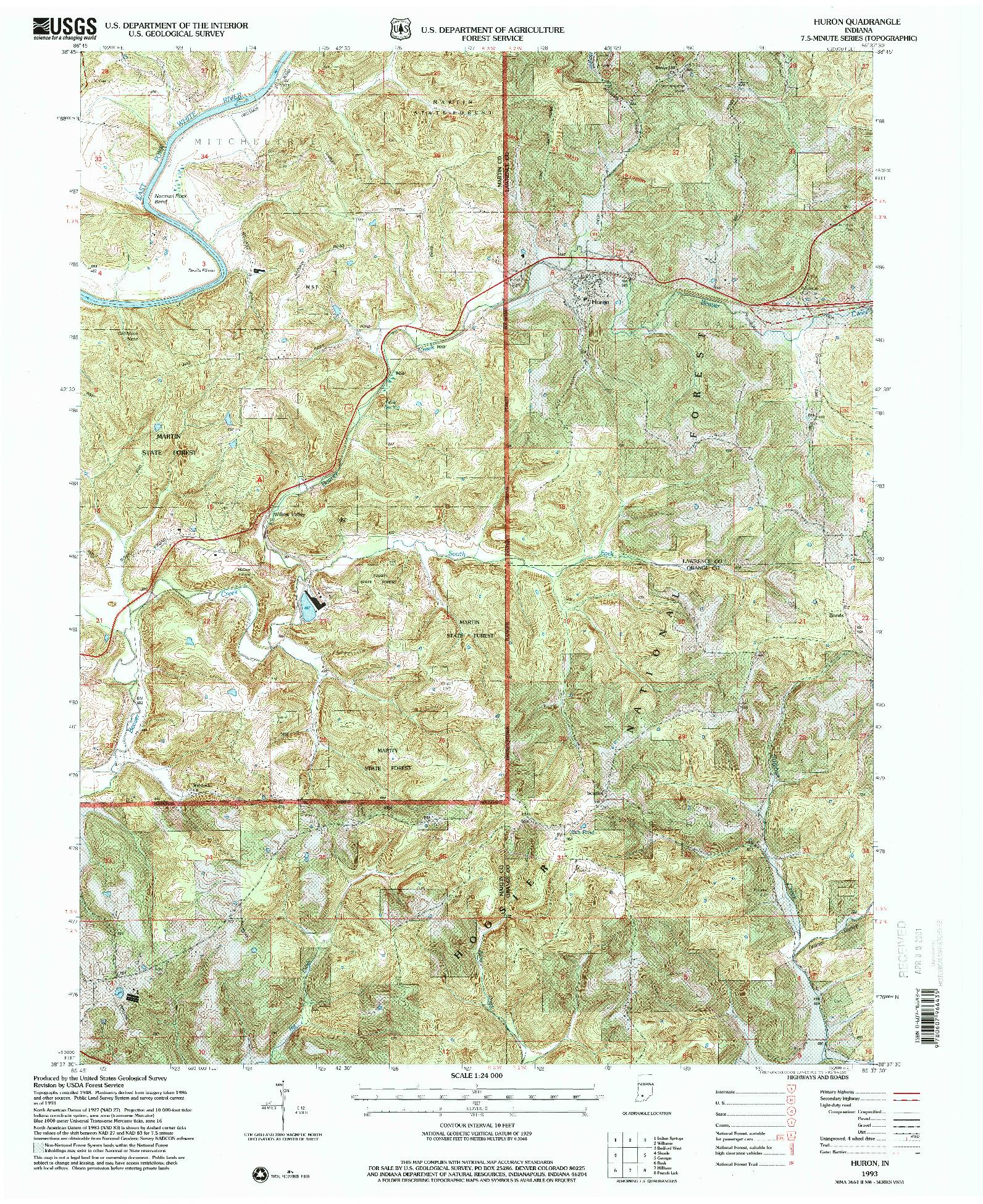 USGS 1:24000-SCALE QUADRANGLE FOR HURON, IN 1993