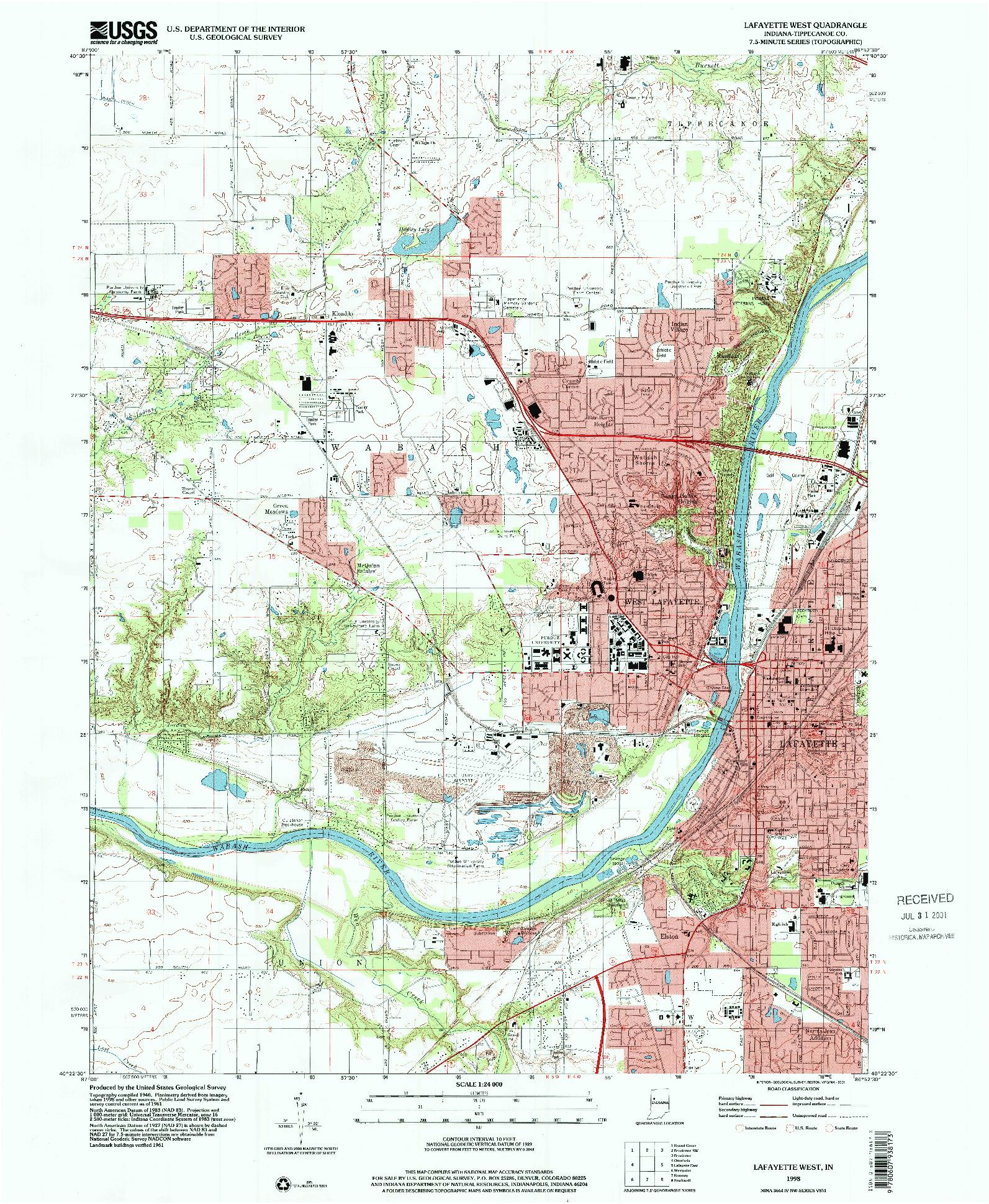 USGS 1:24000-SCALE QUADRANGLE FOR LAFAYETTE WEST, IN 1998