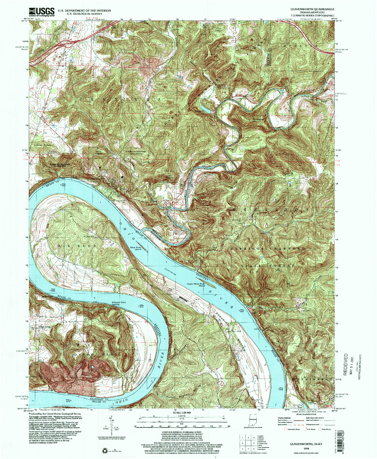 USGS 1:24000-SCALE QUADRANGLE FOR LEAVENWORTH, IN 1998