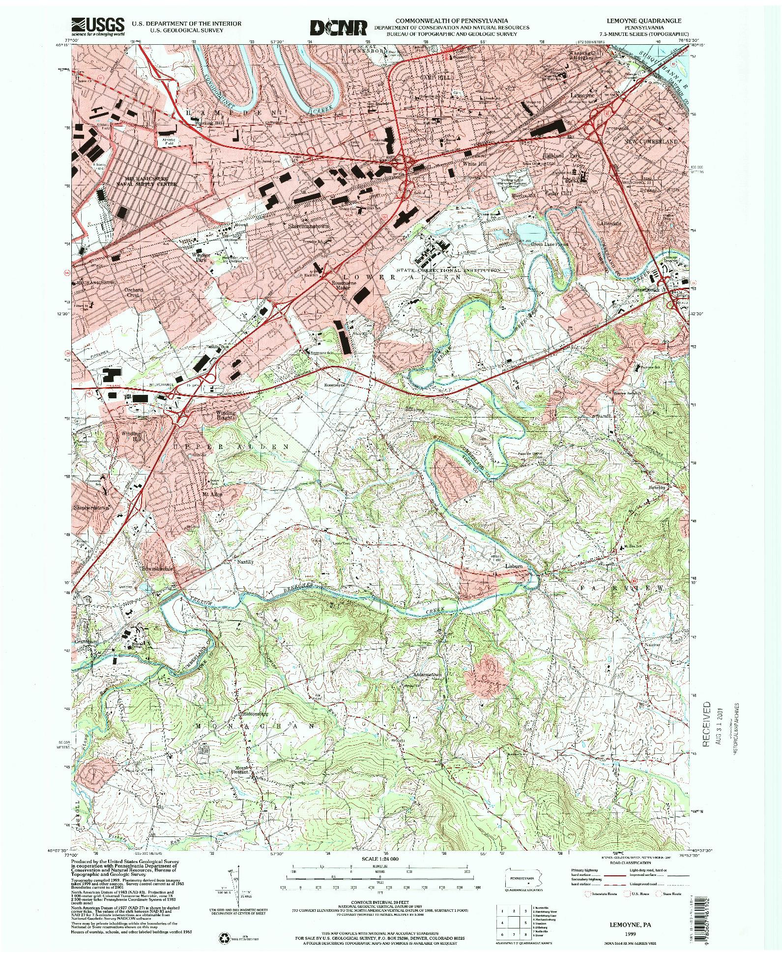 USGS 1:24000-SCALE QUADRANGLE FOR LEMOYNE, PA 1999
