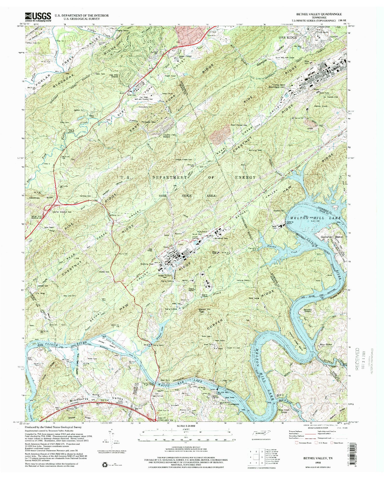 USGS 1:24000-SCALE QUADRANGLE FOR BETHEL VALLEY, TN 1998