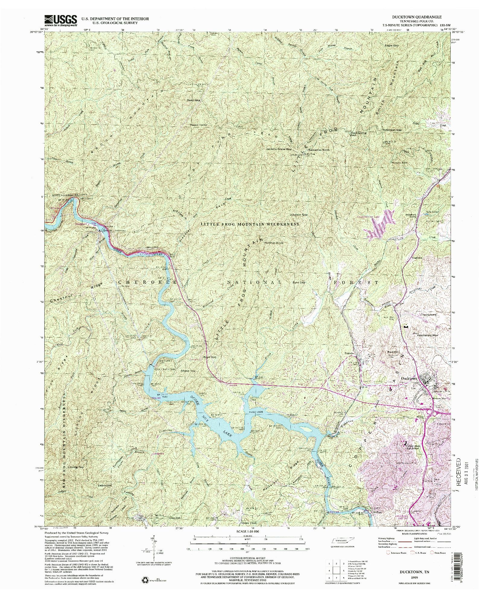 USGS 1:24000-SCALE QUADRANGLE FOR DUCKTOWN, TN 1999