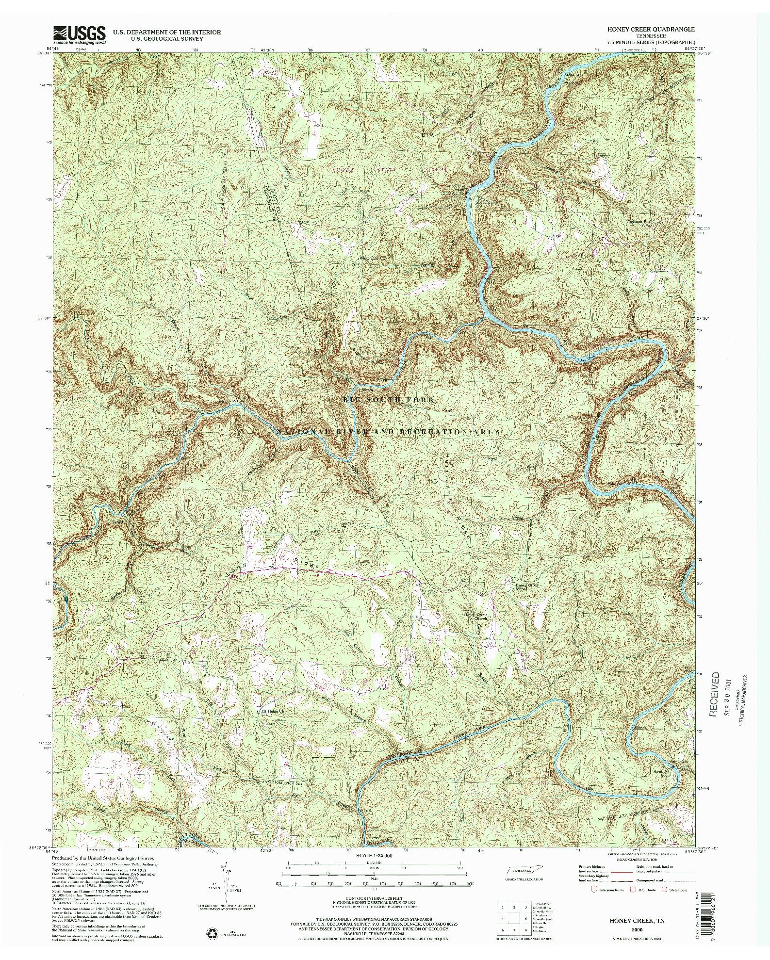 USGS 1:24000-SCALE QUADRANGLE FOR HONEY CREEK, TN 2000