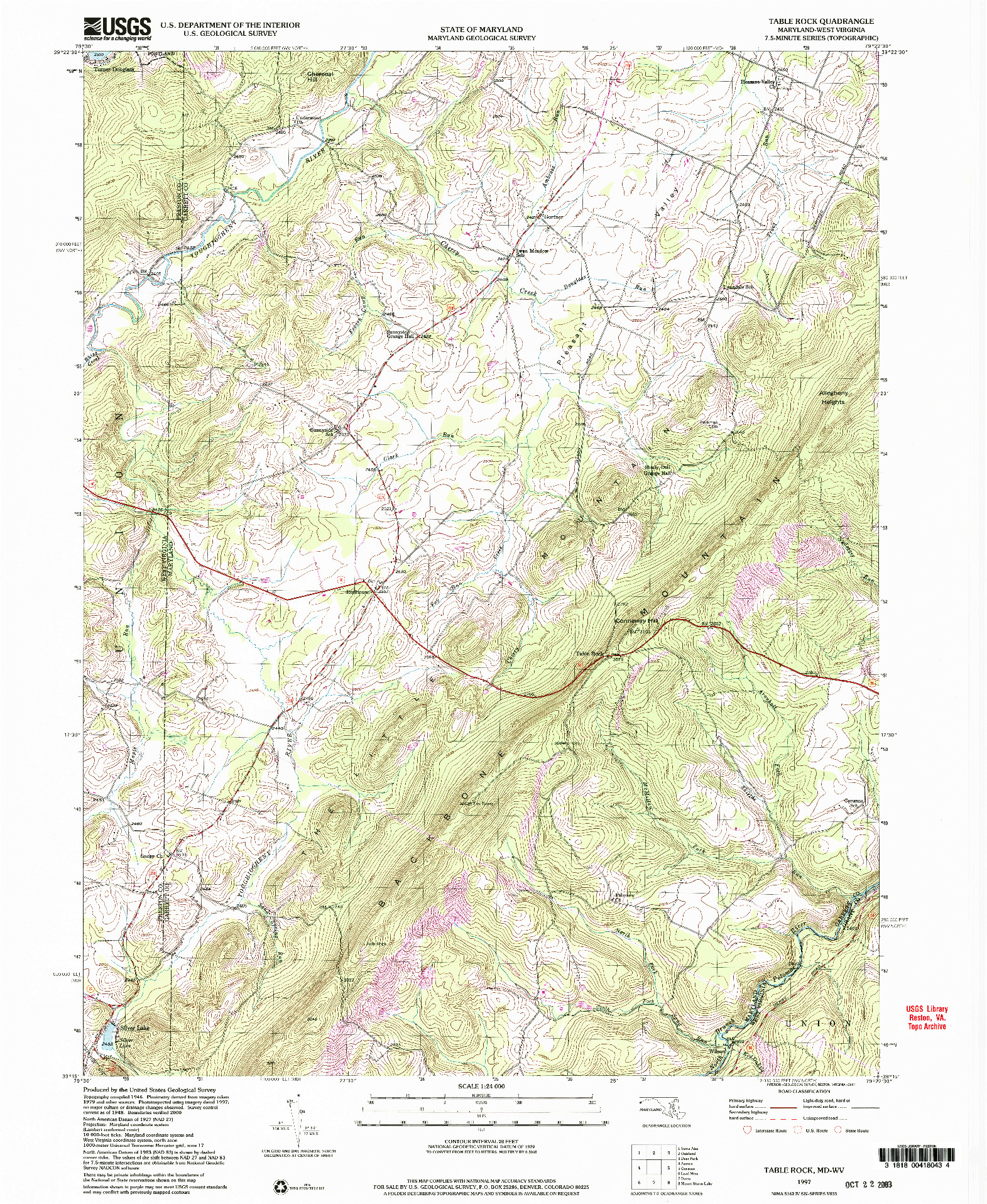 USGS 1:24000-SCALE QUADRANGLE FOR TABLE ROCK, MD 1997
