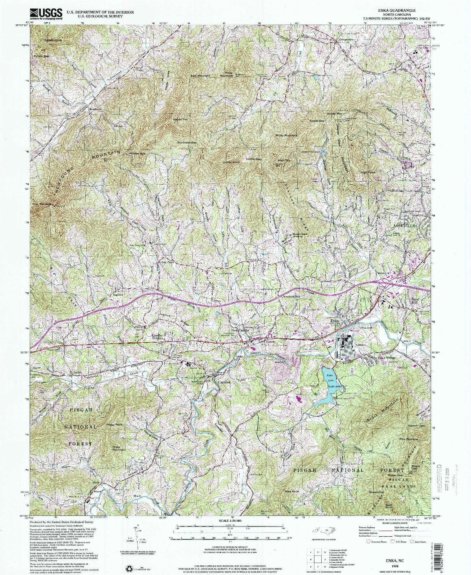 USGS 1:24000-SCALE QUADRANGLE FOR ENKA, NC 1998