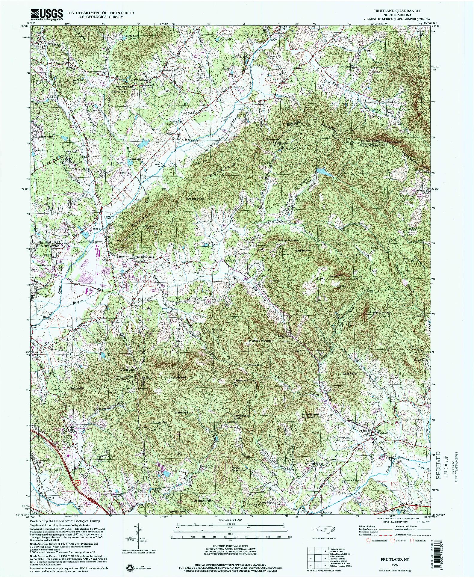 USGS 1:24000-SCALE QUADRANGLE FOR FRUITLAND, NC 1997