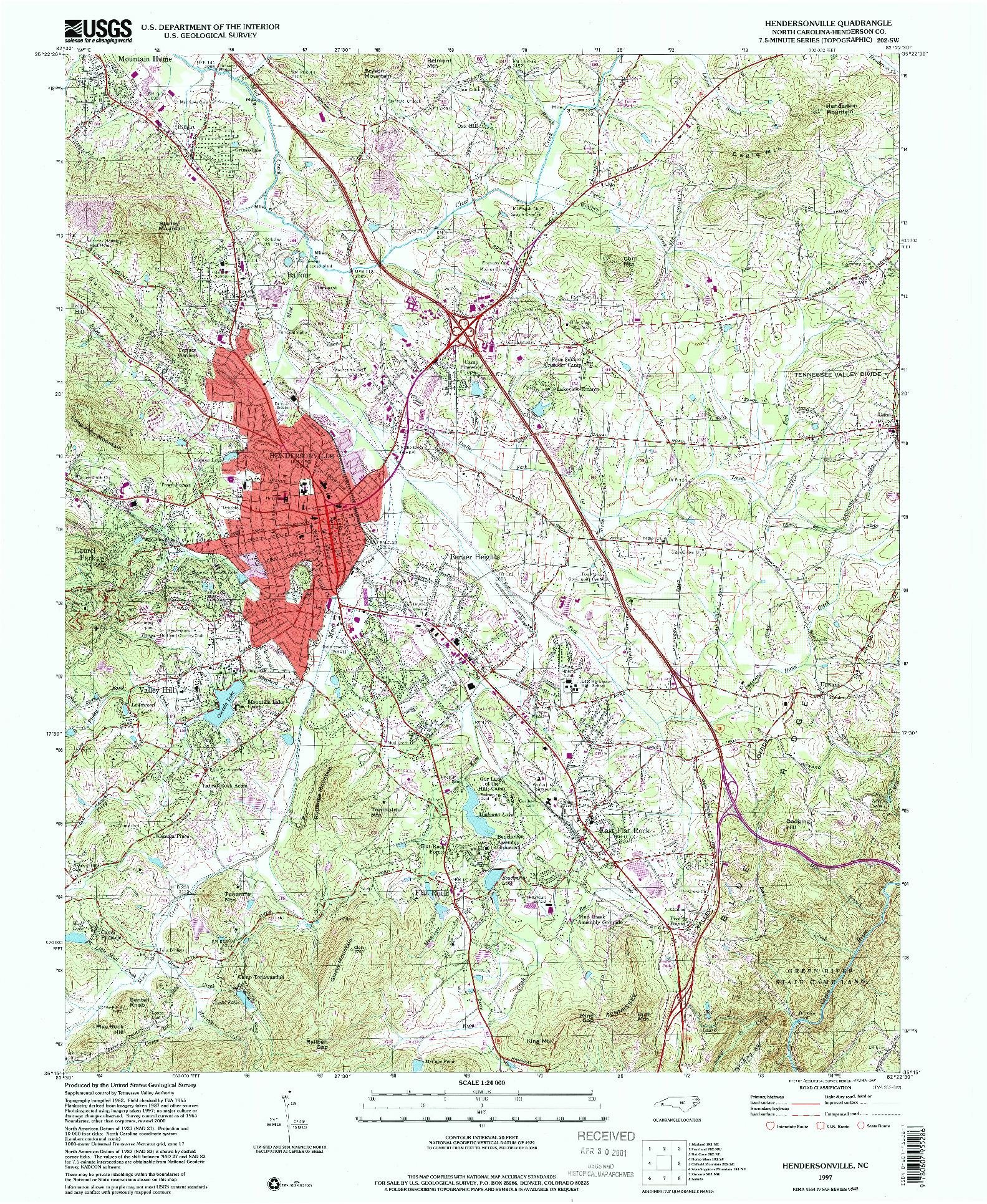 USGS 1:24000-SCALE QUADRANGLE FOR HENDERSONVILLE, NC 1997