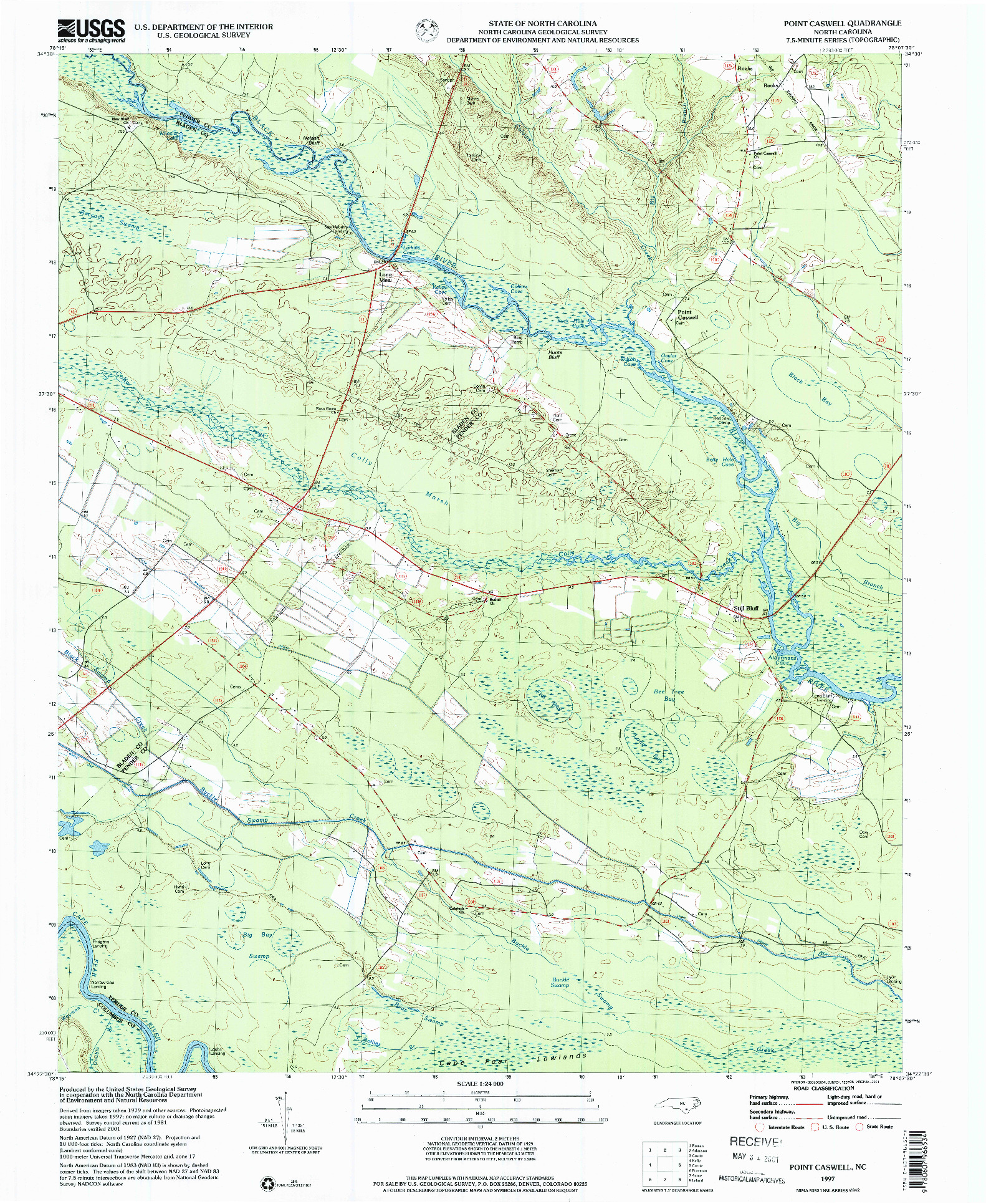 USGS 1:24000-SCALE QUADRANGLE FOR POINT CASWELL, NC 1997