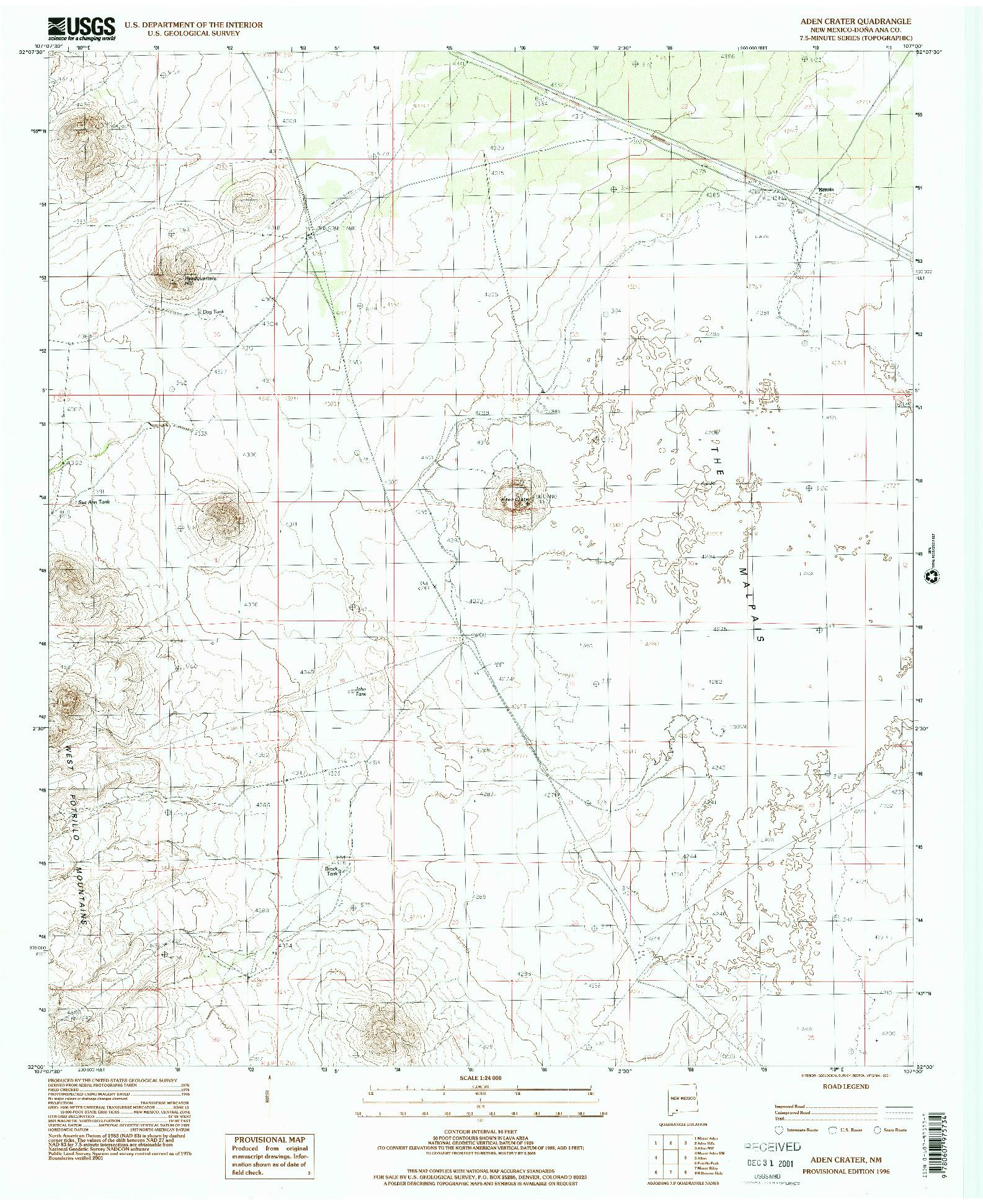 USGS 1:24000-SCALE QUADRANGLE FOR ADEN CRATER, NM 1996