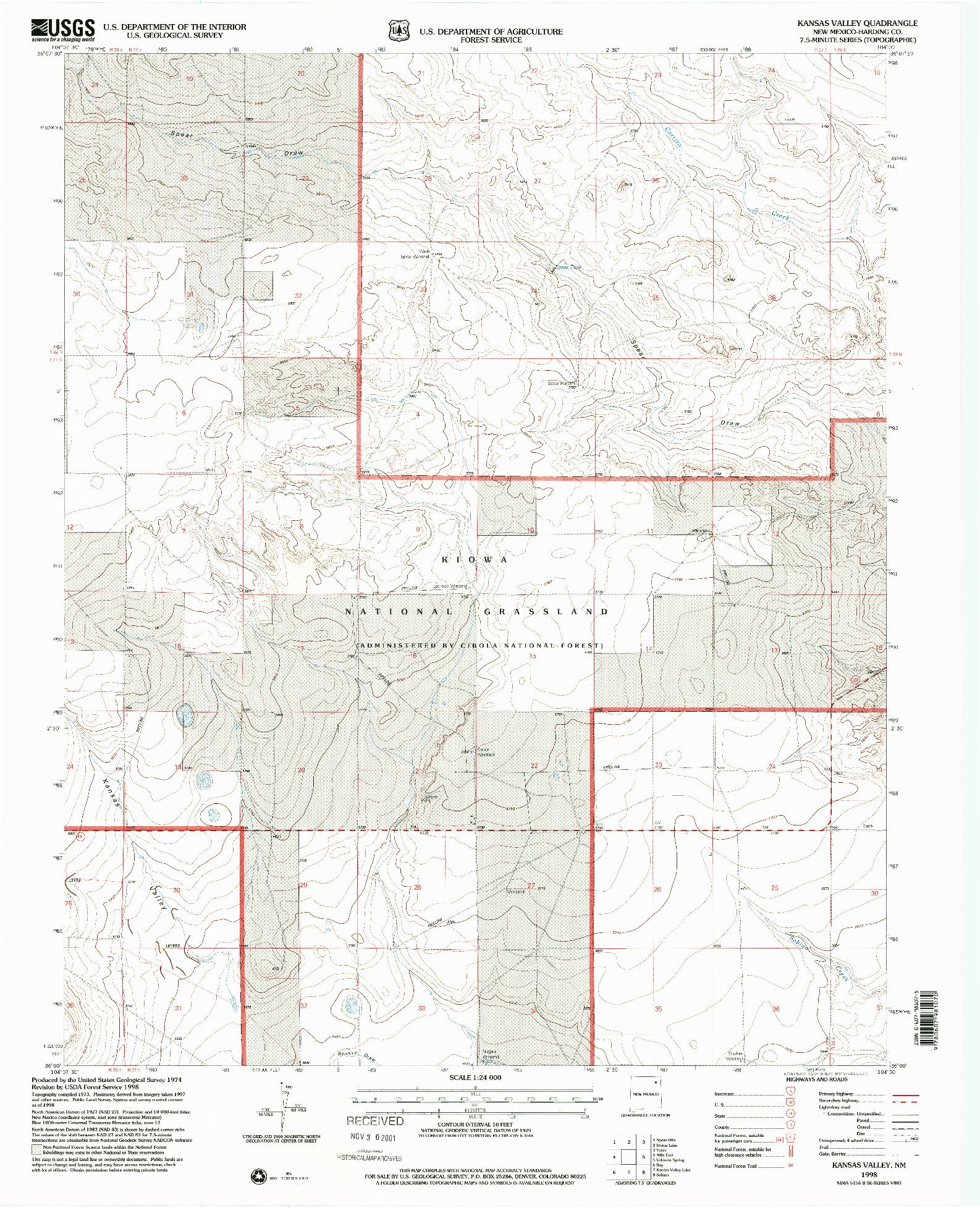 USGS 1:24000-SCALE QUADRANGLE FOR KANSAS VALLEY, NM 1998