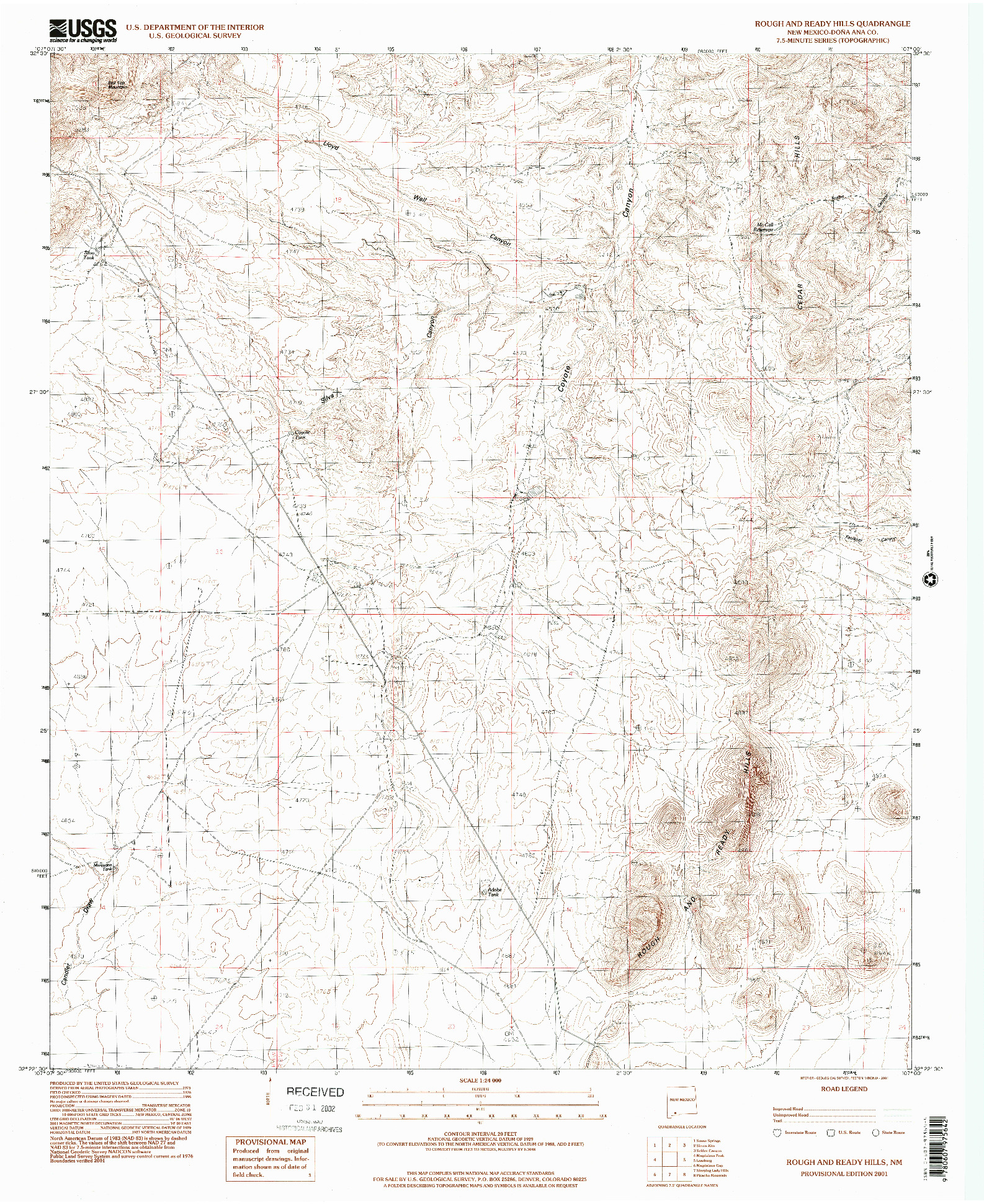 USGS 1:24000-SCALE QUADRANGLE FOR ROUGH AND READY HILLS, NM 2001
