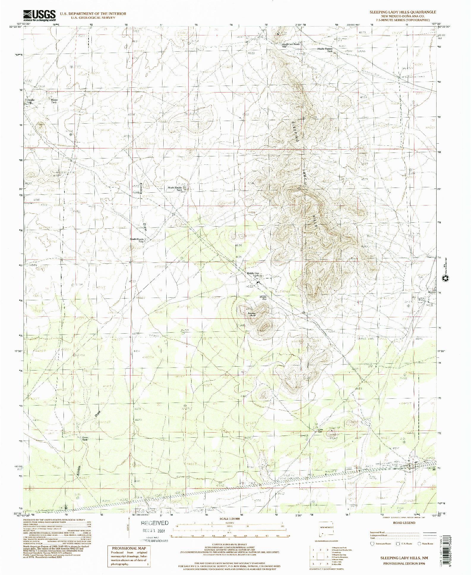 USGS 1:24000-SCALE QUADRANGLE FOR SLEEPING LADY HILLS, NM 1996