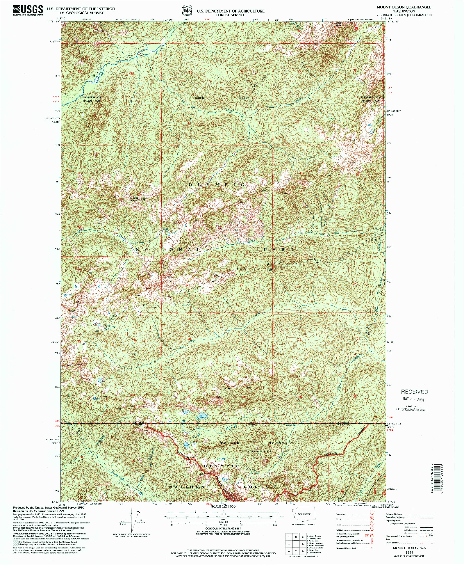 USGS 1:24000-SCALE QUADRANGLE FOR MOUNT OLSON, WA 1999