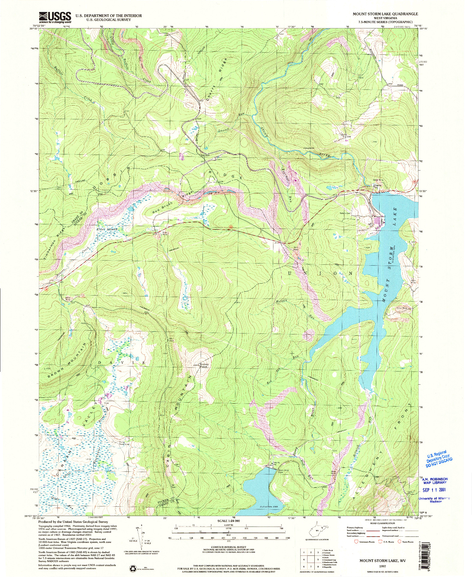USGS 1:24000-SCALE QUADRANGLE FOR MOUNT STORM LAKE, WV 1997