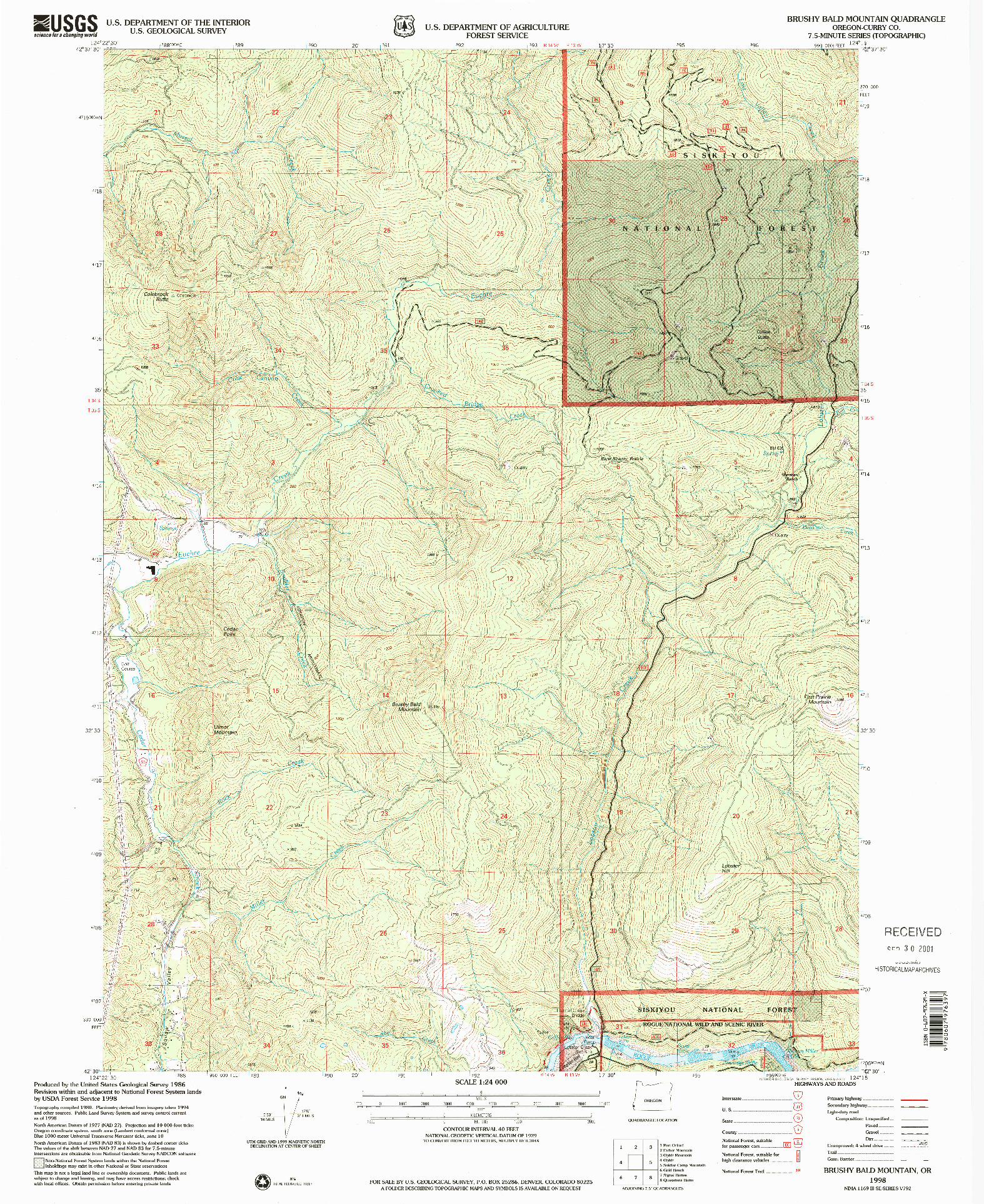 USGS 1:24000-SCALE QUADRANGLE FOR BRUSHY BALD MOUNTAIN, OR 1998