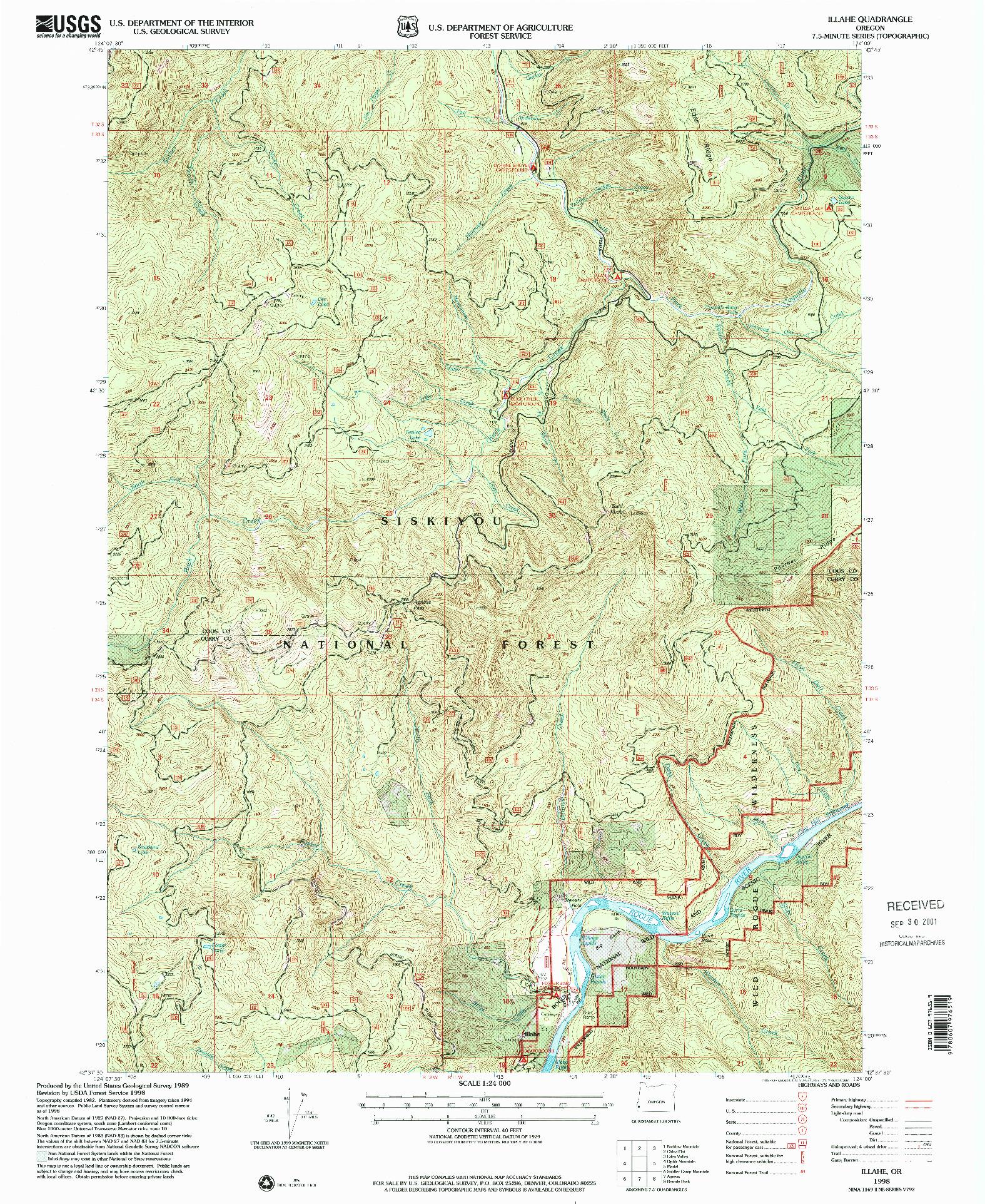 USGS 1:24000-SCALE QUADRANGLE FOR ILLAHE, OR 1998