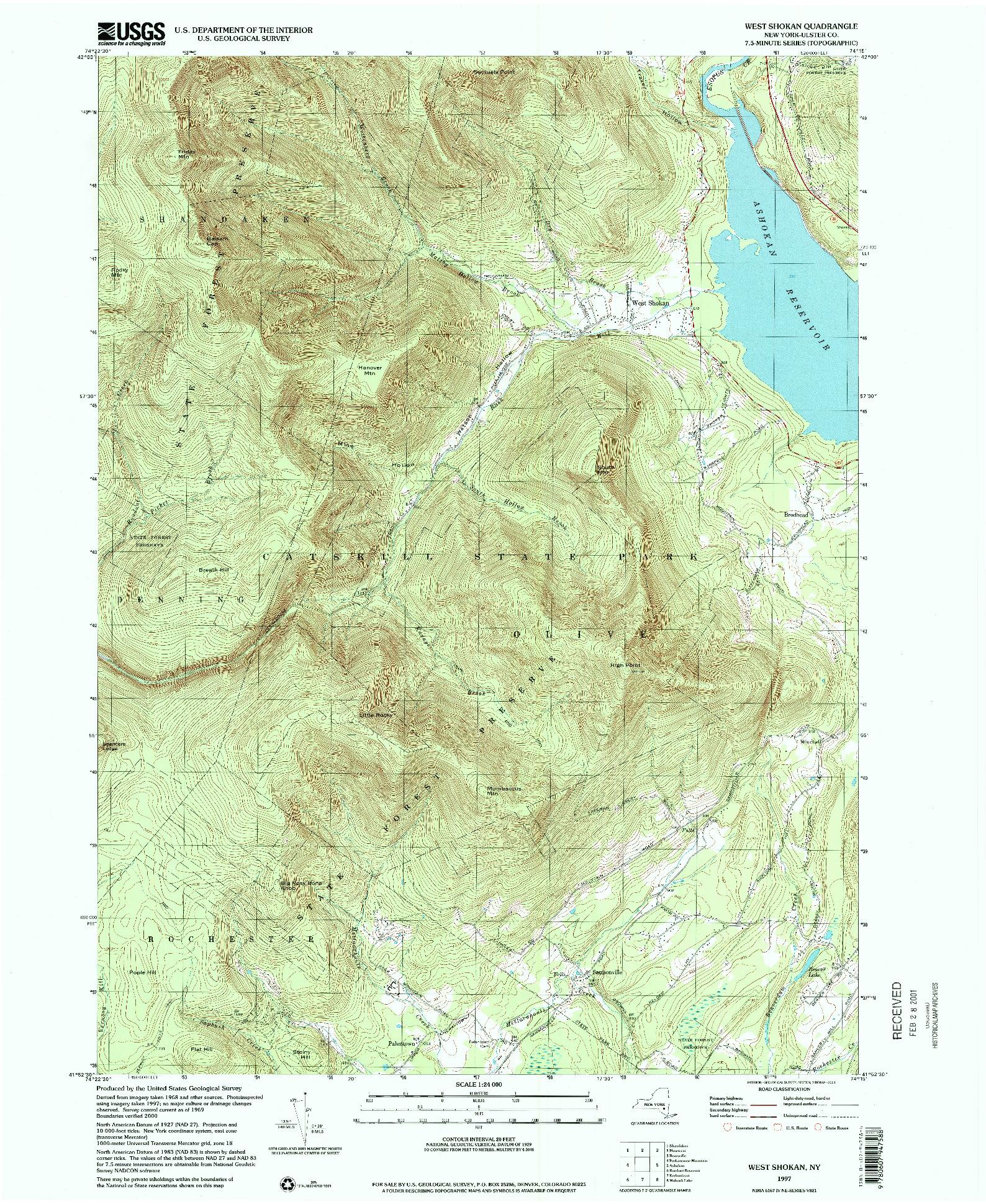 USGS 1:24000-SCALE QUADRANGLE FOR WEST SHOKAN, NY 1997