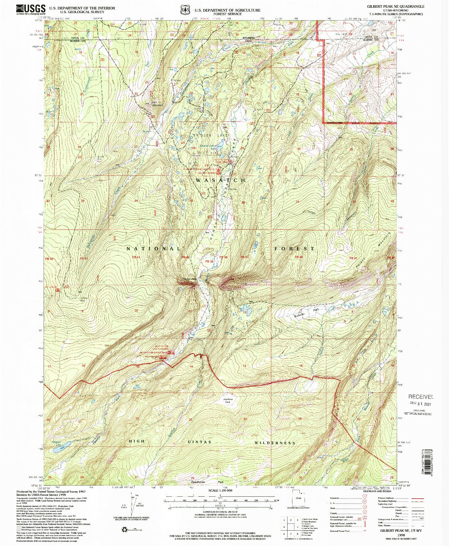 USGS 1:24000-SCALE QUADRANGLE FOR GILBERT PEAK NE, UT 1998