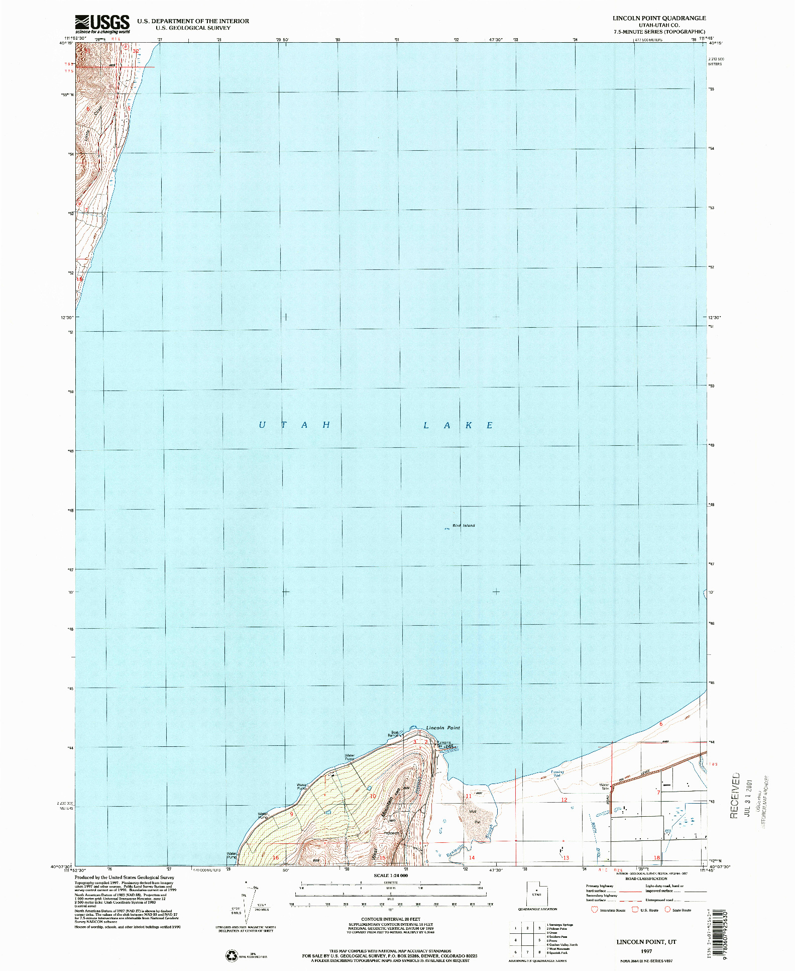 USGS 1:24000-SCALE QUADRANGLE FOR LINCOLN POINT, UT 1997