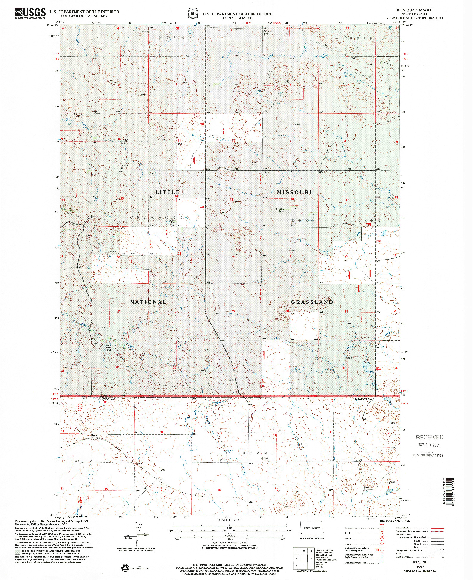 USGS 1:24000-SCALE QUADRANGLE FOR IVES, ND 1997