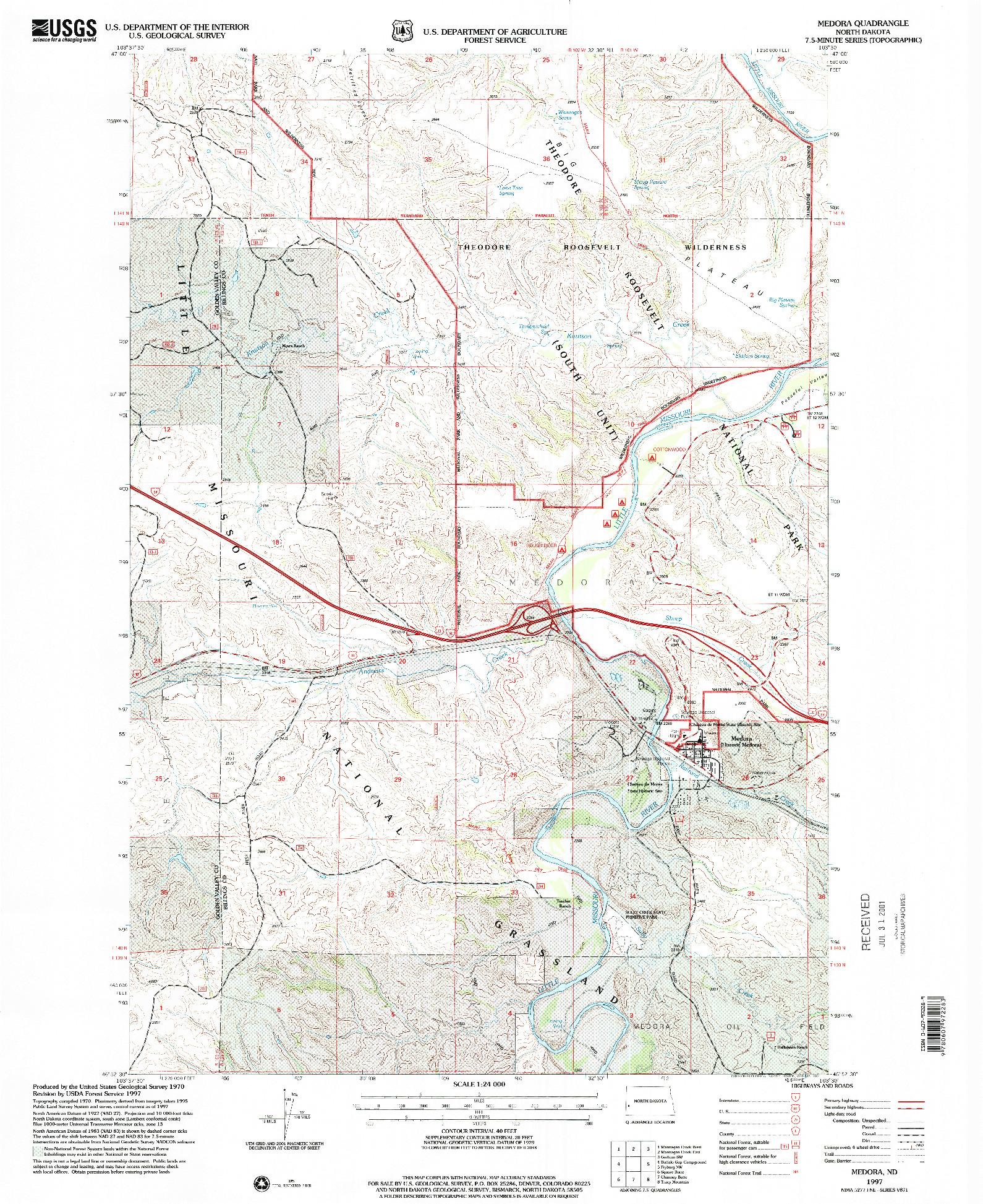 USGS 1:24000-SCALE QUADRANGLE FOR MEDORA, ND 1997