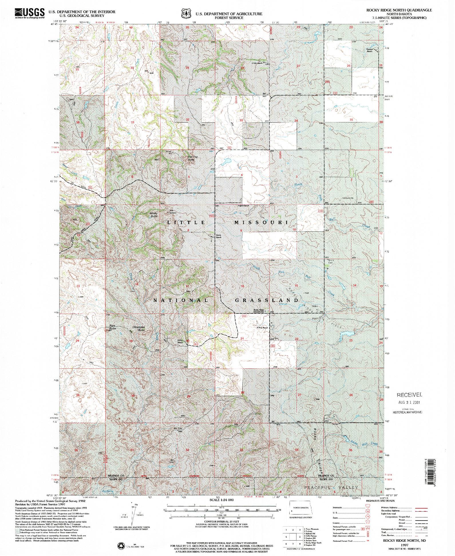 USGS 1:24000-SCALE QUADRANGLE FOR ROCKY RIDGE NORTH, ND 1997