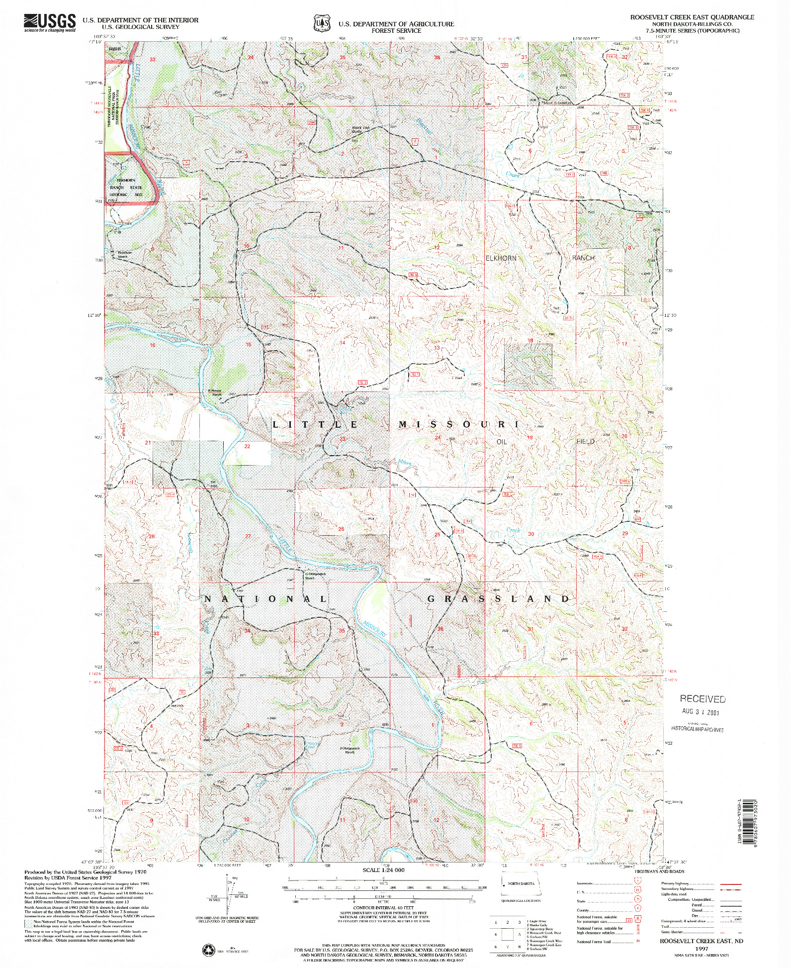 USGS 1:24000-SCALE QUADRANGLE FOR ROOSEVELT CREEK EAST, ND 1997