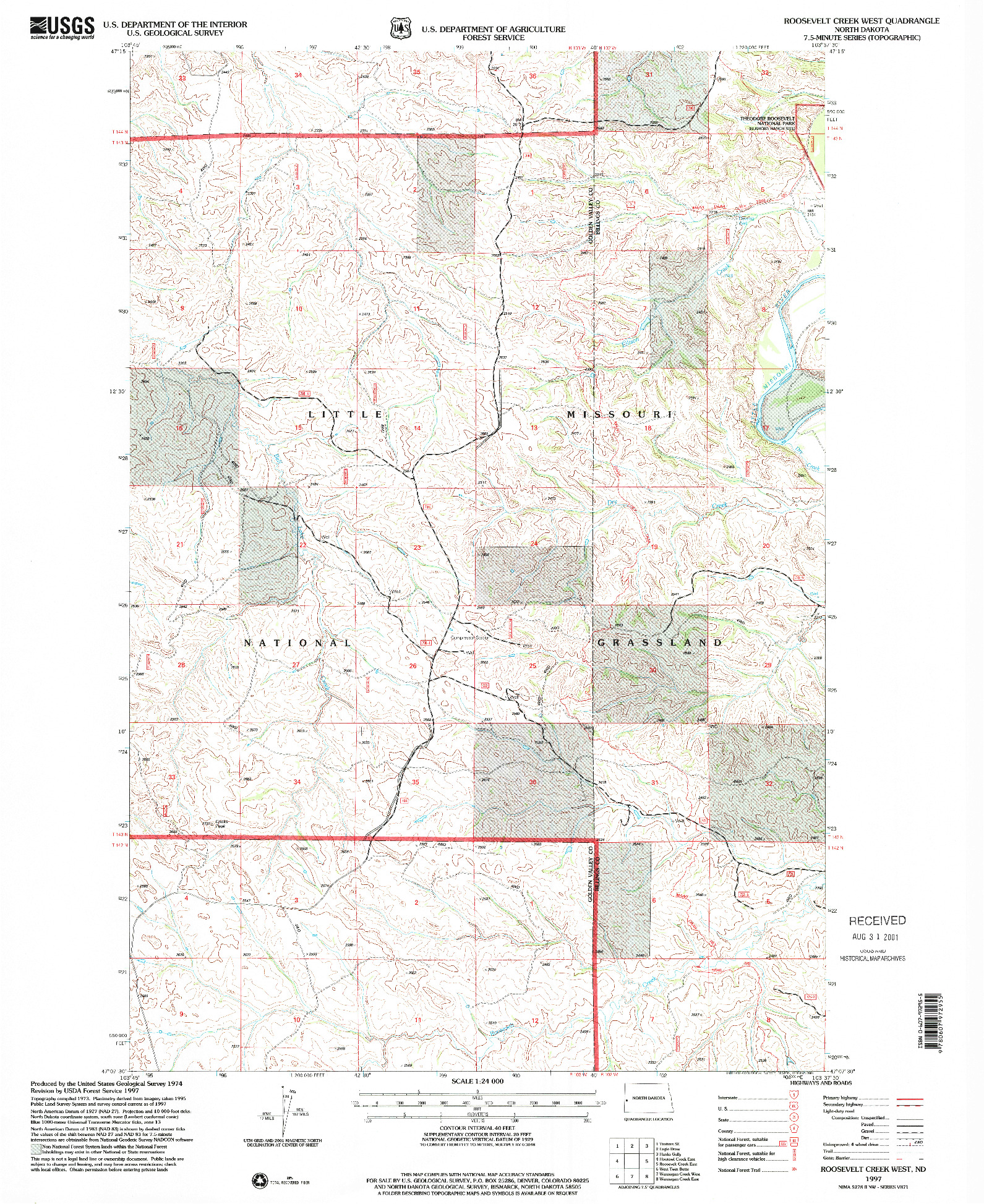 USGS 1:24000-SCALE QUADRANGLE FOR ROOSEVELT CREEK WEST, ND 1997