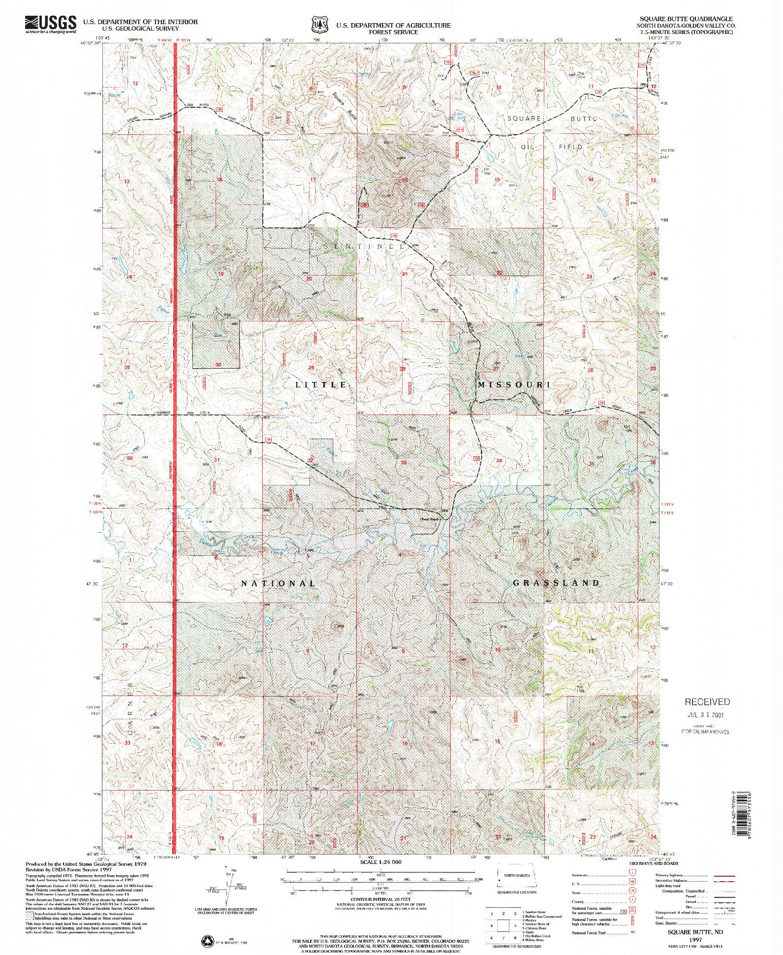 USGS 1:24000-SCALE QUADRANGLE FOR SQUARE BUTTE, ND 1997