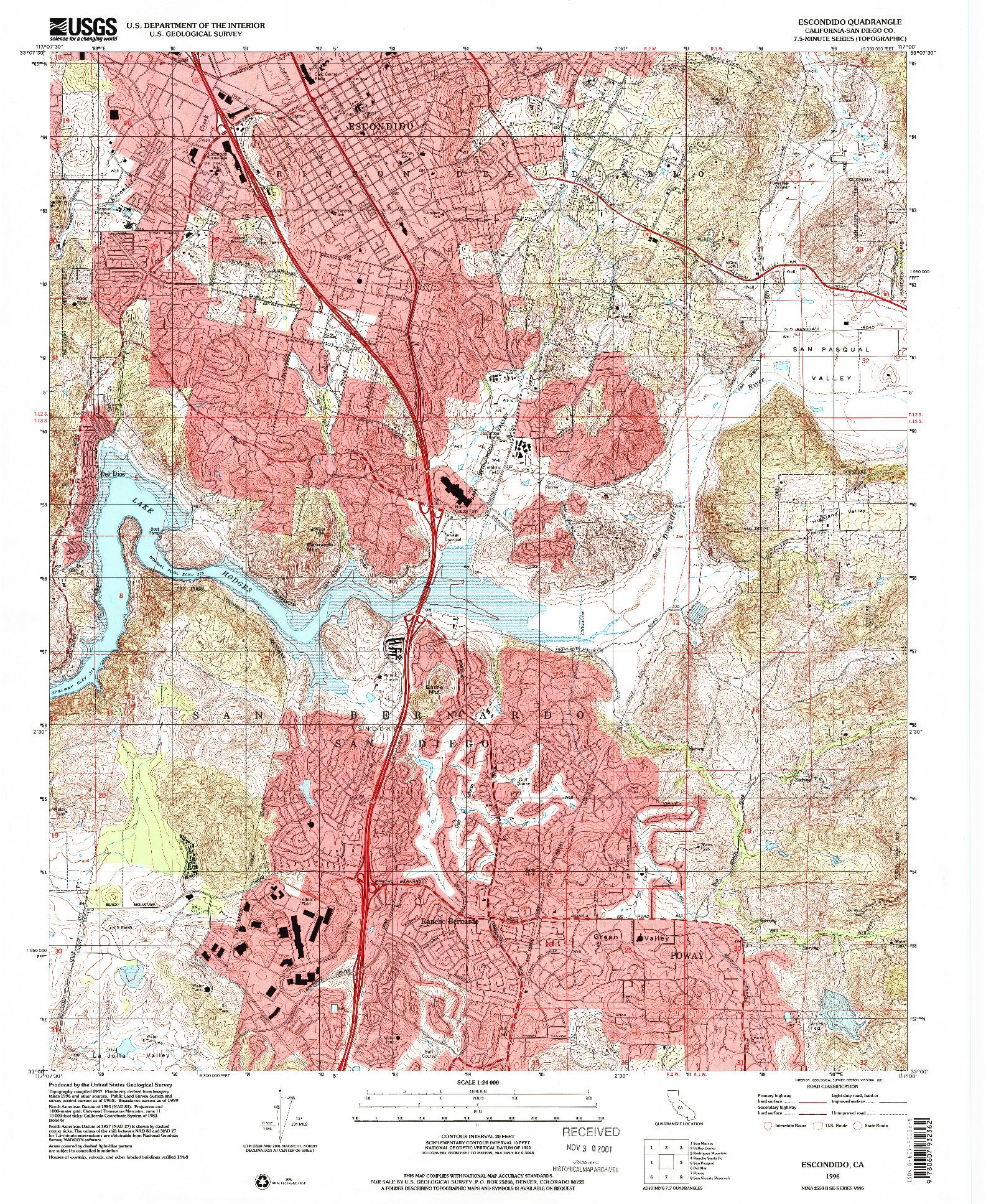 USGS 1:24000-SCALE QUADRANGLE FOR ESCONDIDO, CA 1996
