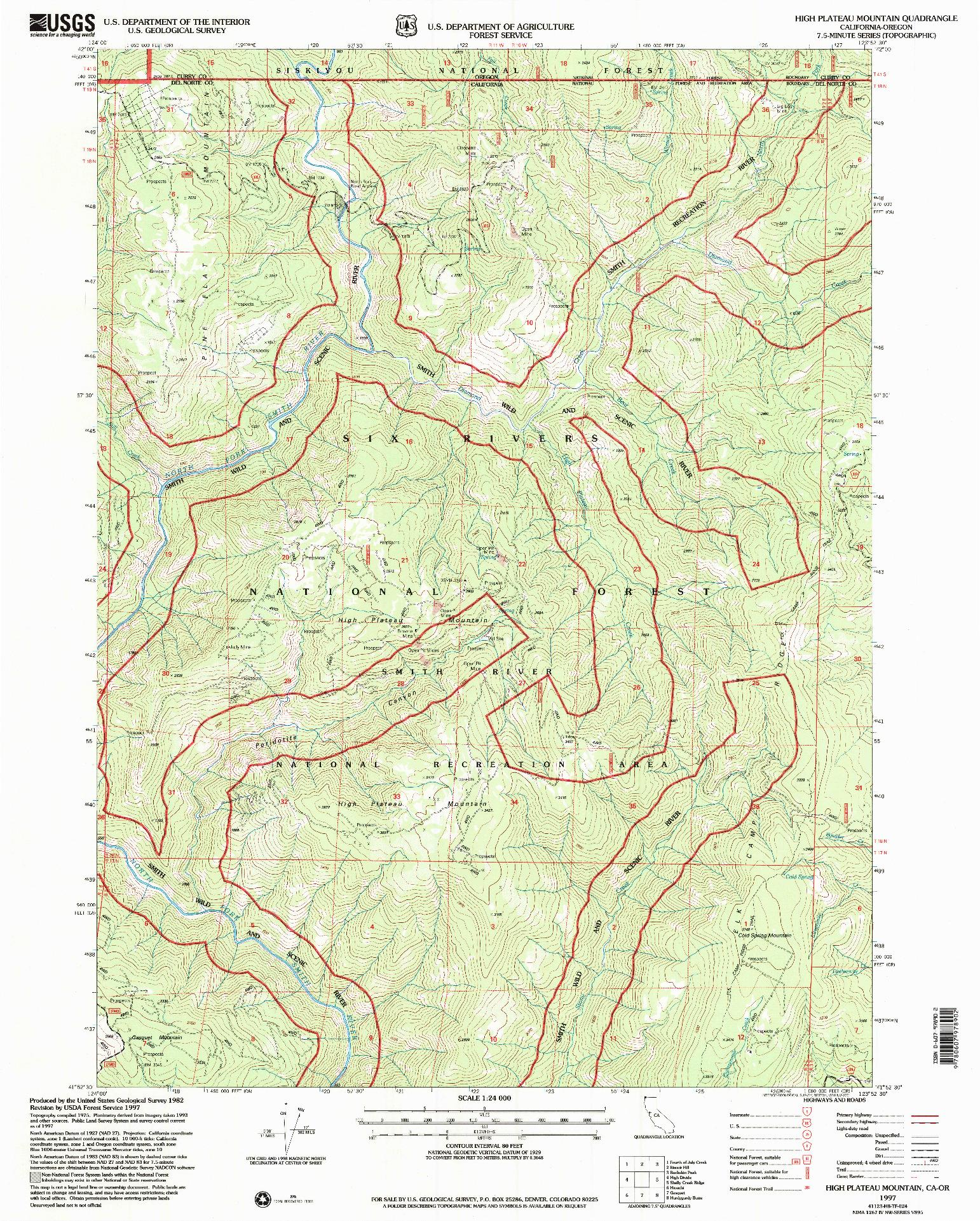 USGS 1:24000-SCALE QUADRANGLE FOR HIGH PLATEAU MOUNTAIN, CA 1997