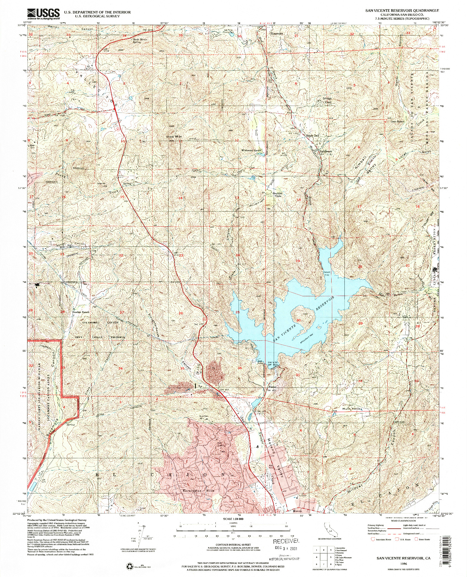 USGS 1:24000-SCALE QUADRANGLE FOR SAN VICENTE RESERVOIR, CA 1996