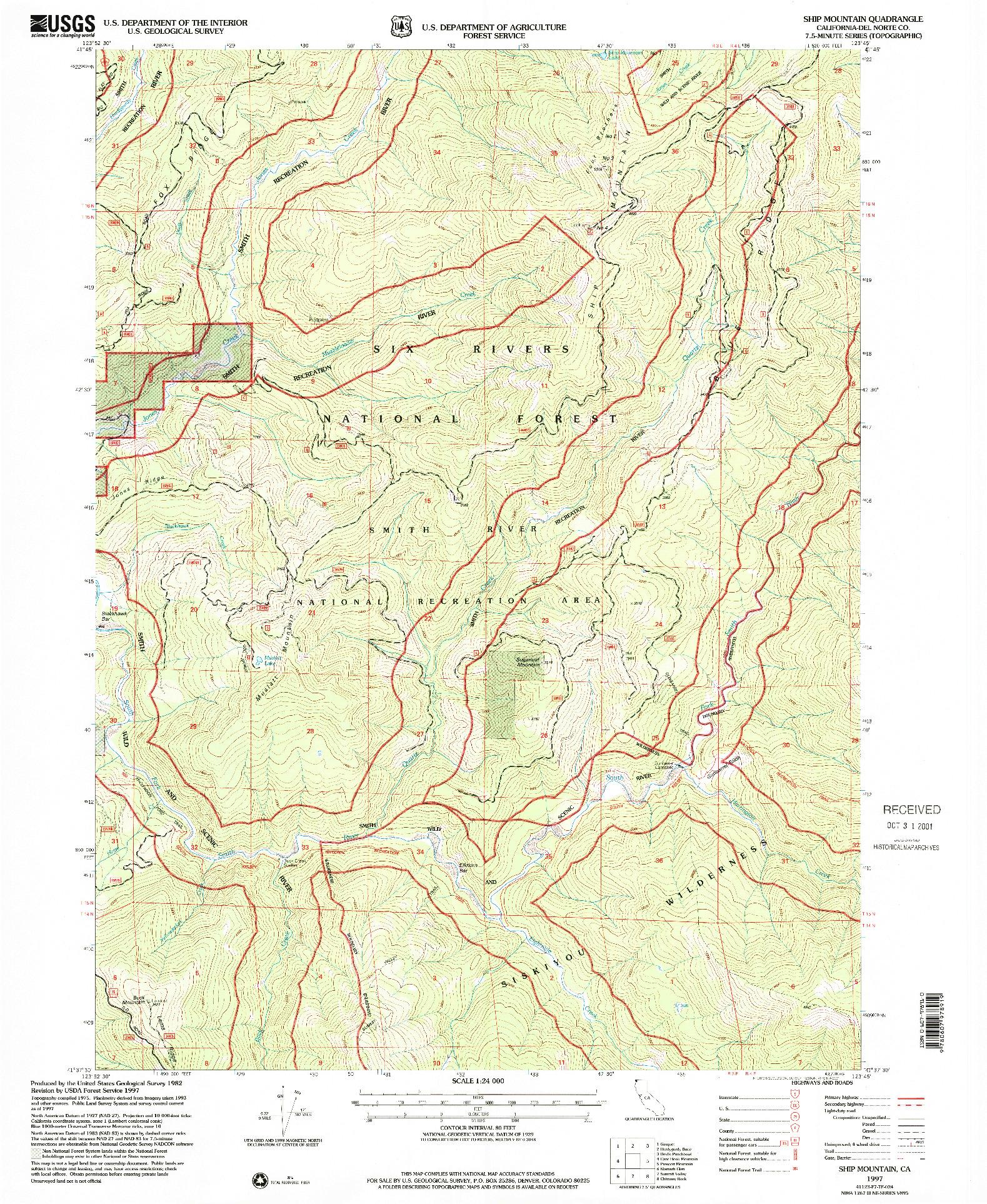 USGS 1:24000-SCALE QUADRANGLE FOR SHIP MOUNTAIN, CA 1997