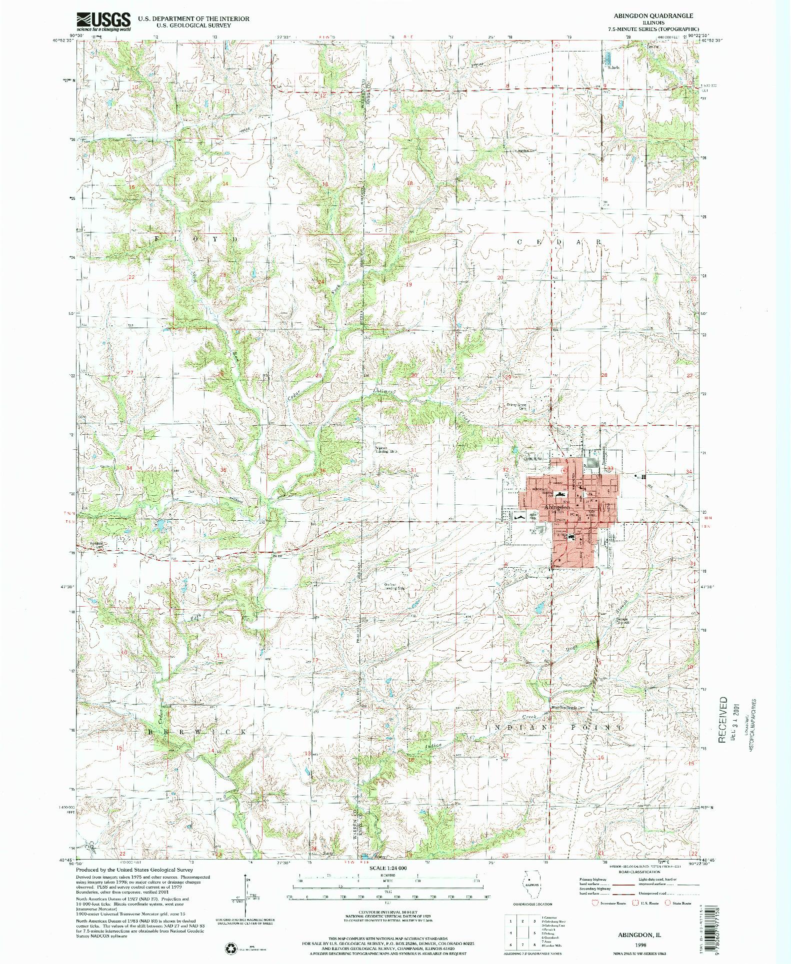 USGS 1:24000-SCALE QUADRANGLE FOR ABINGDON, IL 1998