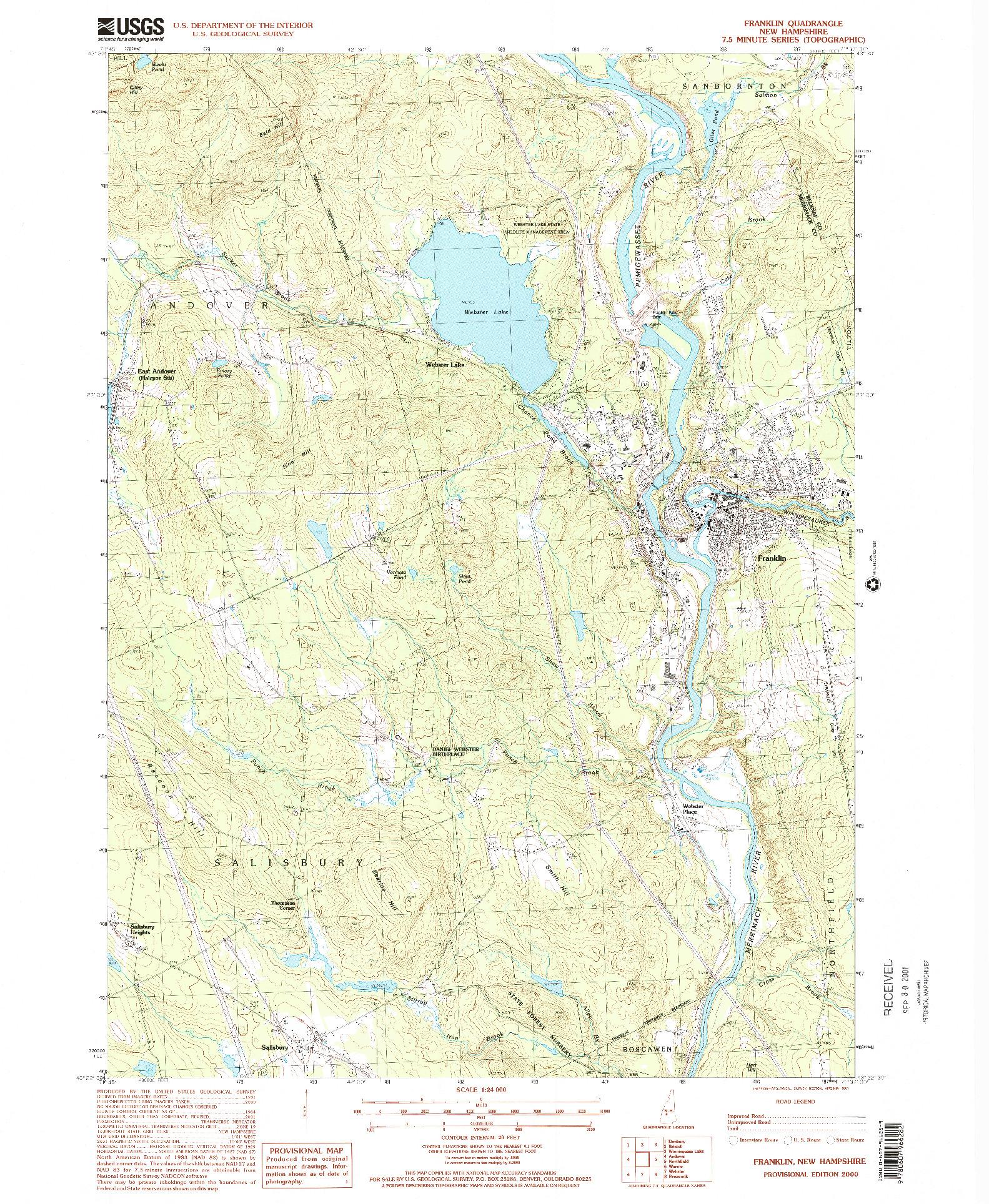 USGS 1:24000-SCALE QUADRANGLE FOR FRANKLIN, NH 2000
