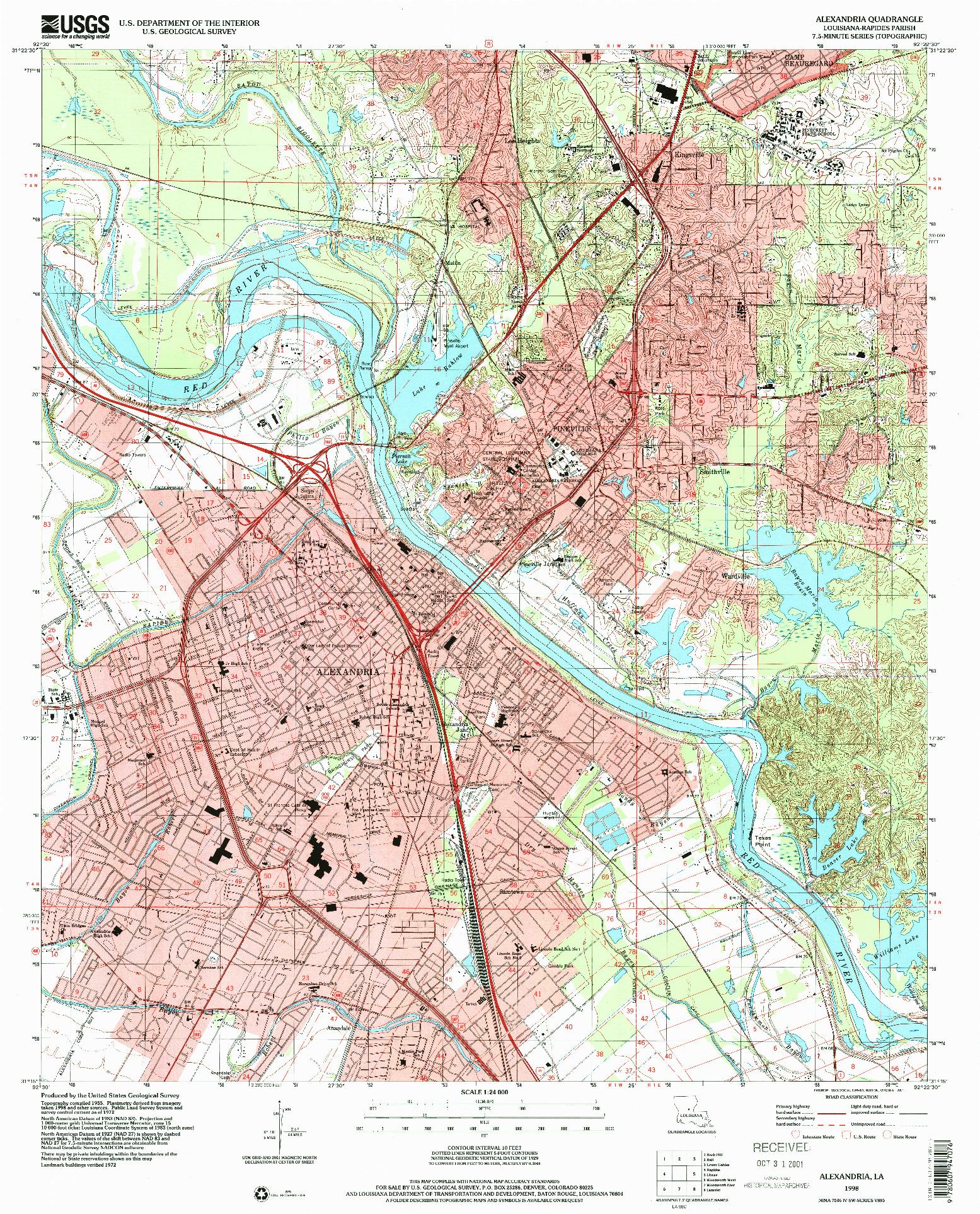 USGS 1:24000-SCALE QUADRANGLE FOR ALEXANDRIA, LA 1998