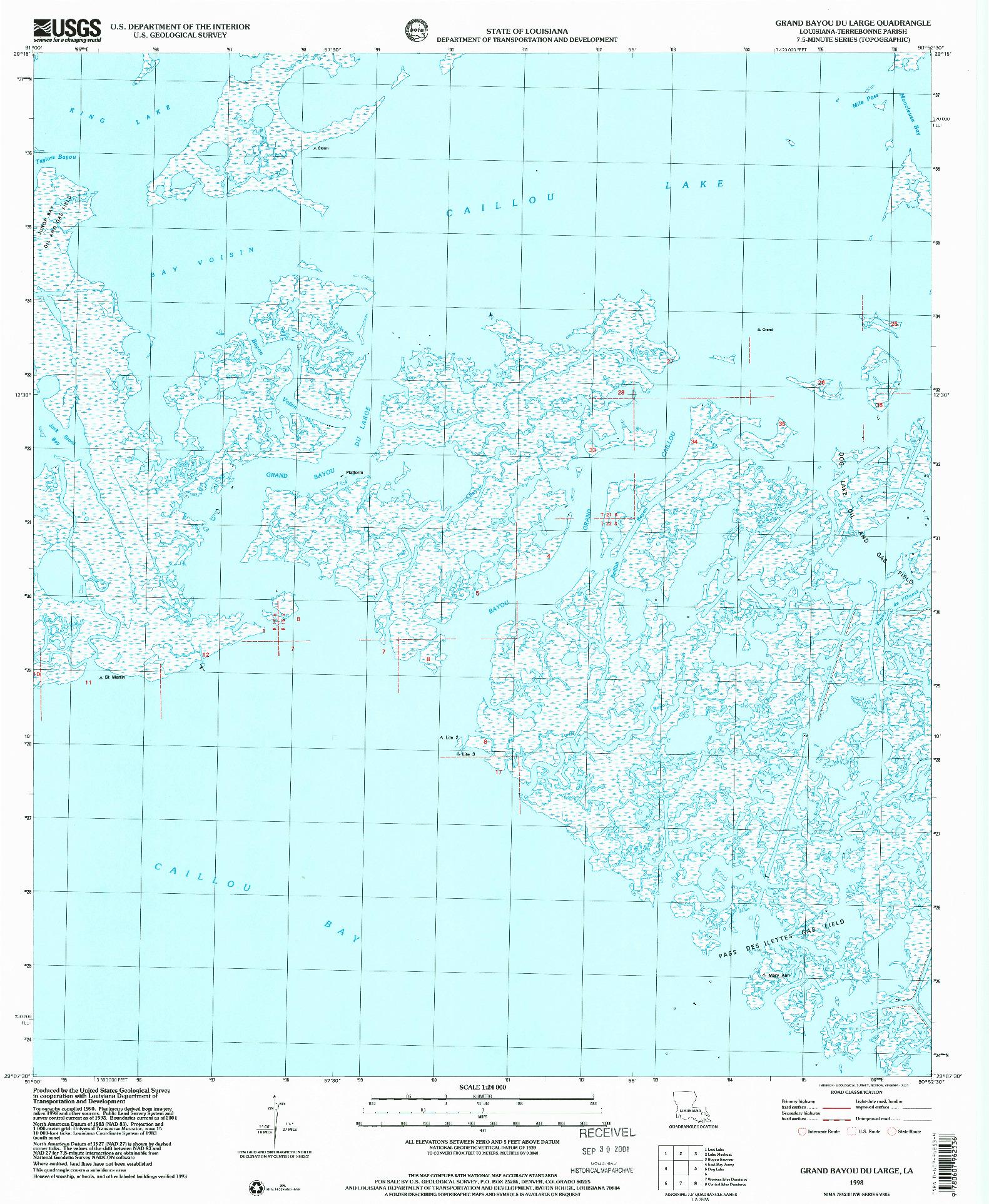 USGS 1:24000-SCALE QUADRANGLE FOR GRAND BAYOU DU LARGE, LA 1994