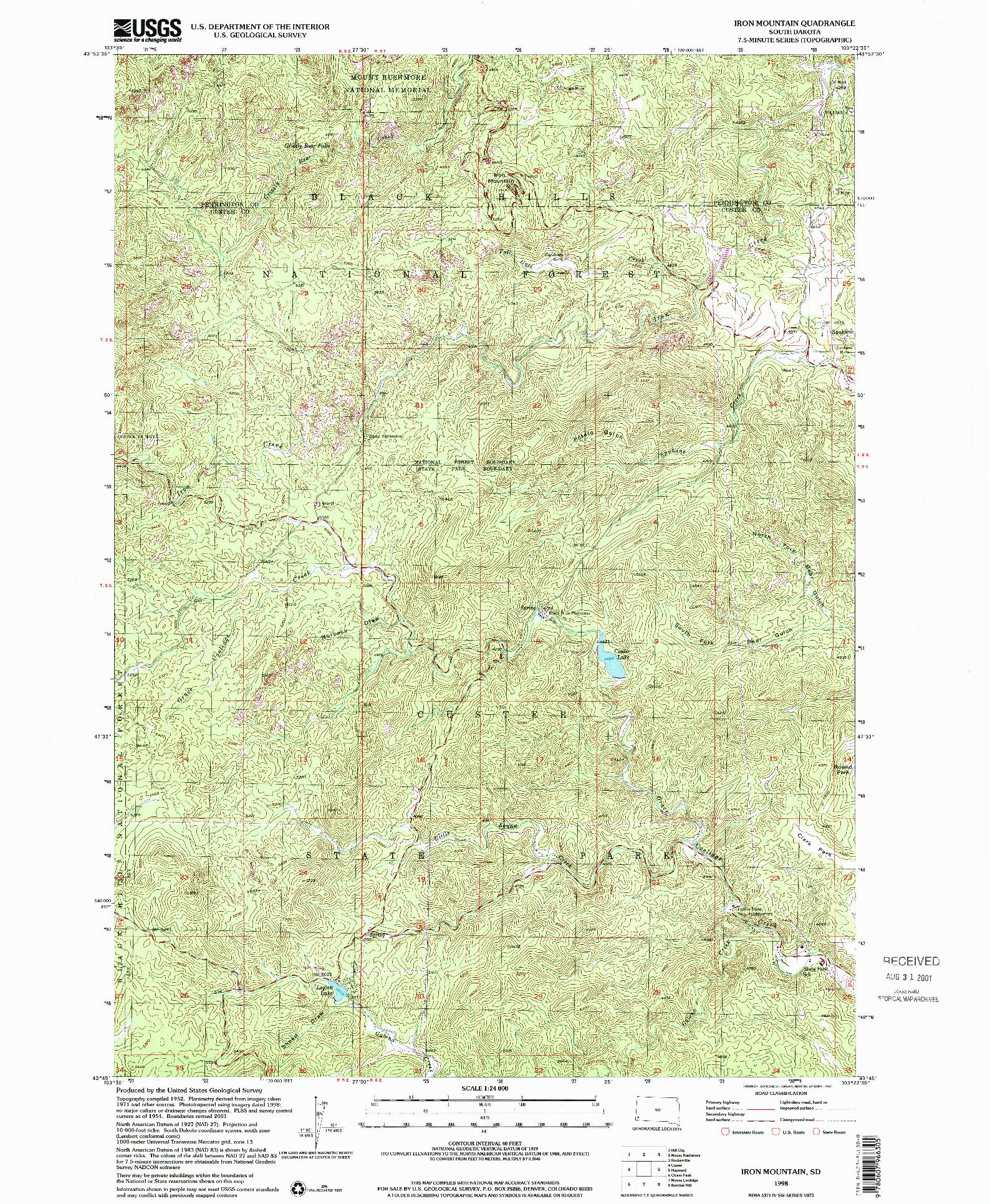 USGS 1:24000-SCALE QUADRANGLE FOR IRON MOUNTAIN, SD 1998