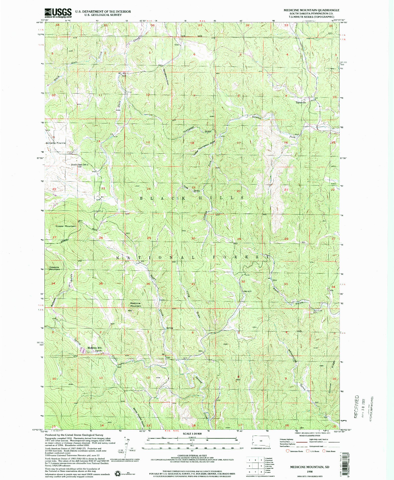 USGS 1:24000-SCALE QUADRANGLE FOR MEDICINE MOUNTAIN, SD 1998