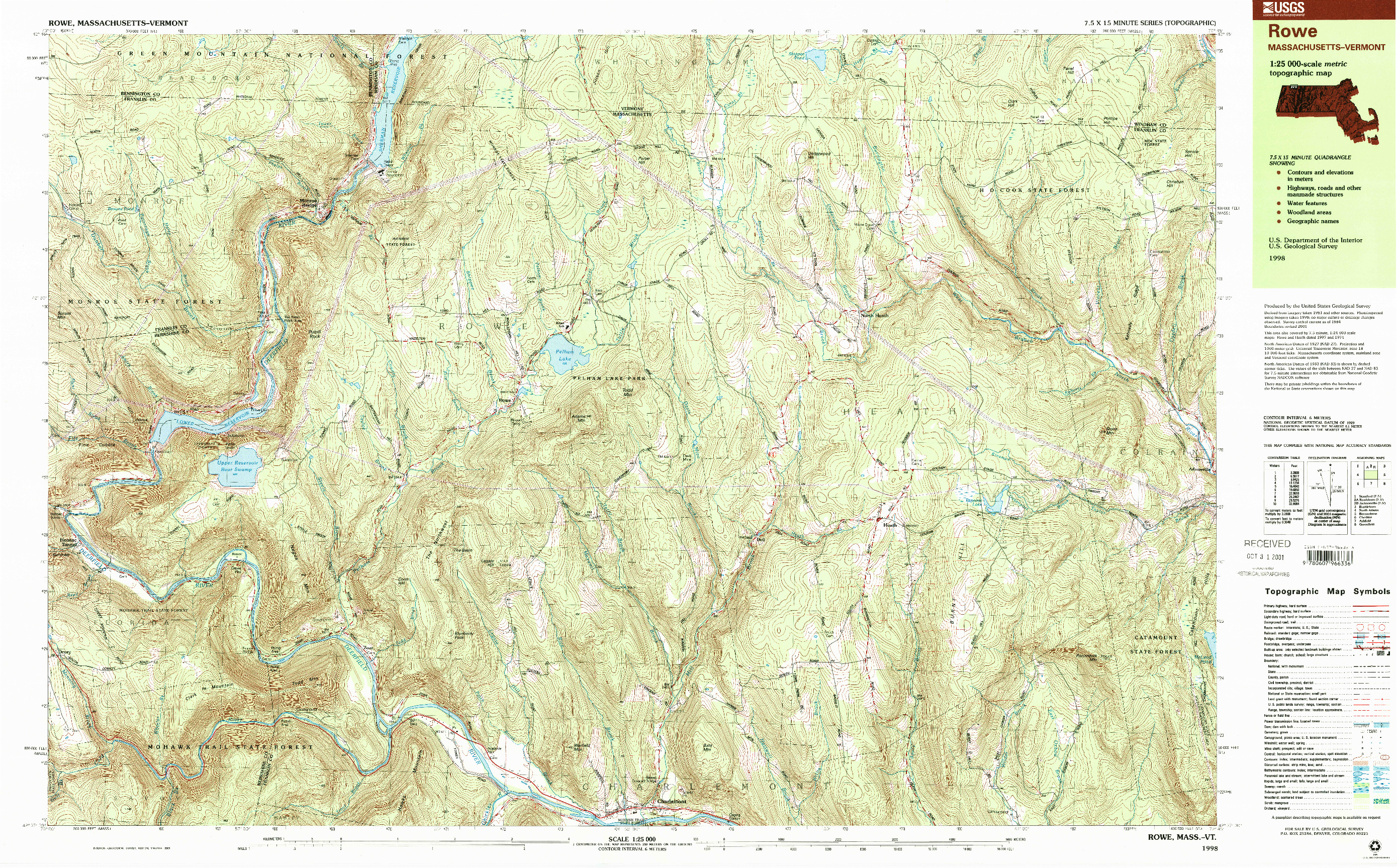 USGS 1:25000-SCALE QUADRANGLE FOR ROWE, MA 1998