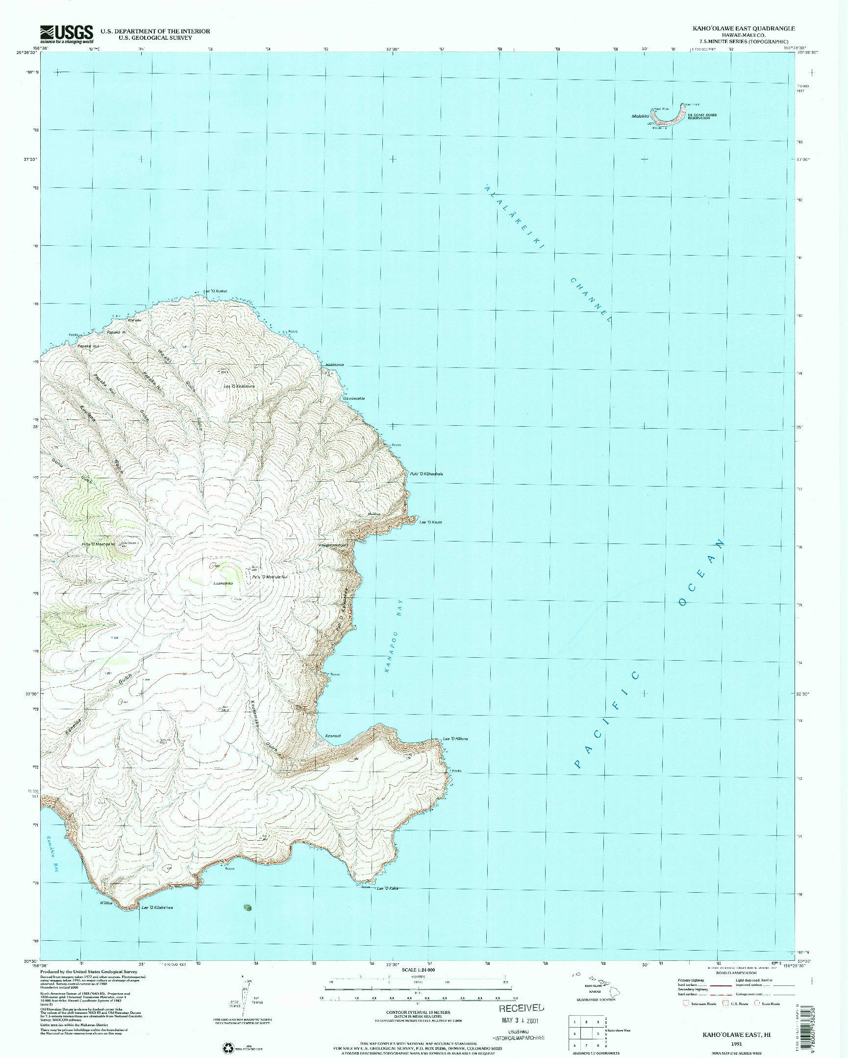 USGS 1:24000-SCALE QUADRANGLE FOR KAHOOLAWE EAST, HI 1991