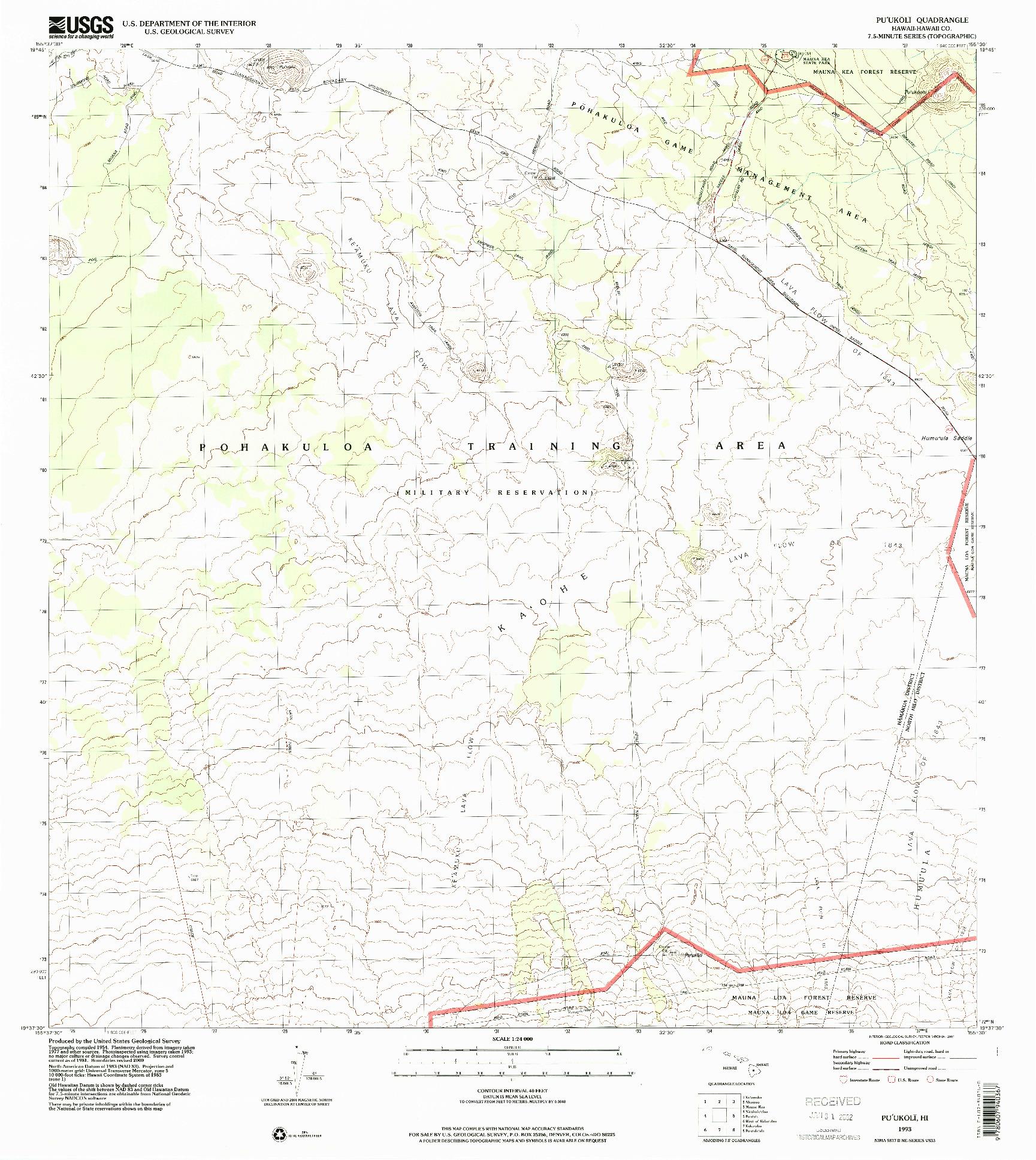 USGS 1:24000-SCALE QUADRANGLE FOR PUUKOLI, HI 1993