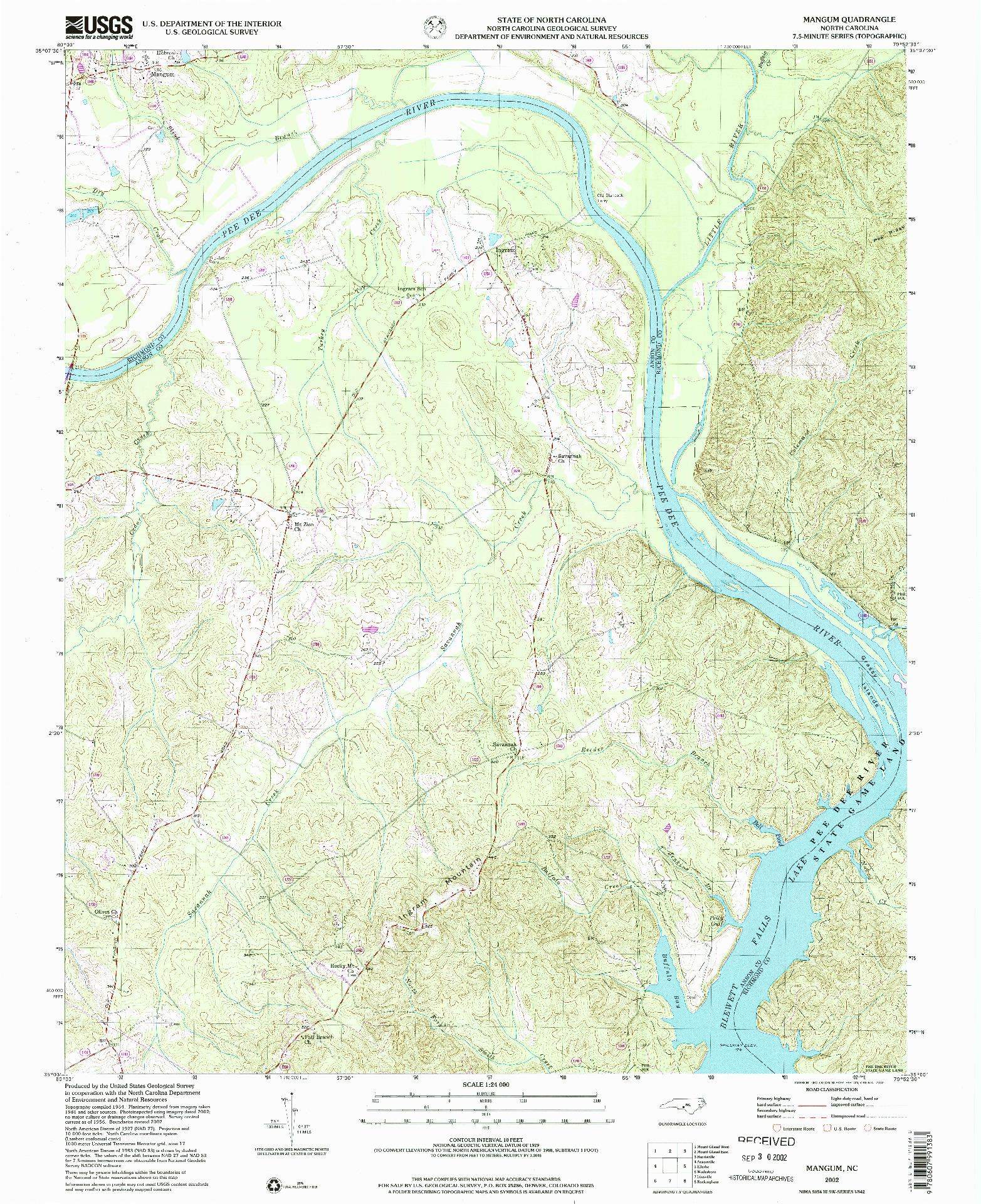 USGS 1:24000-SCALE QUADRANGLE FOR MANGUM, NC 2002