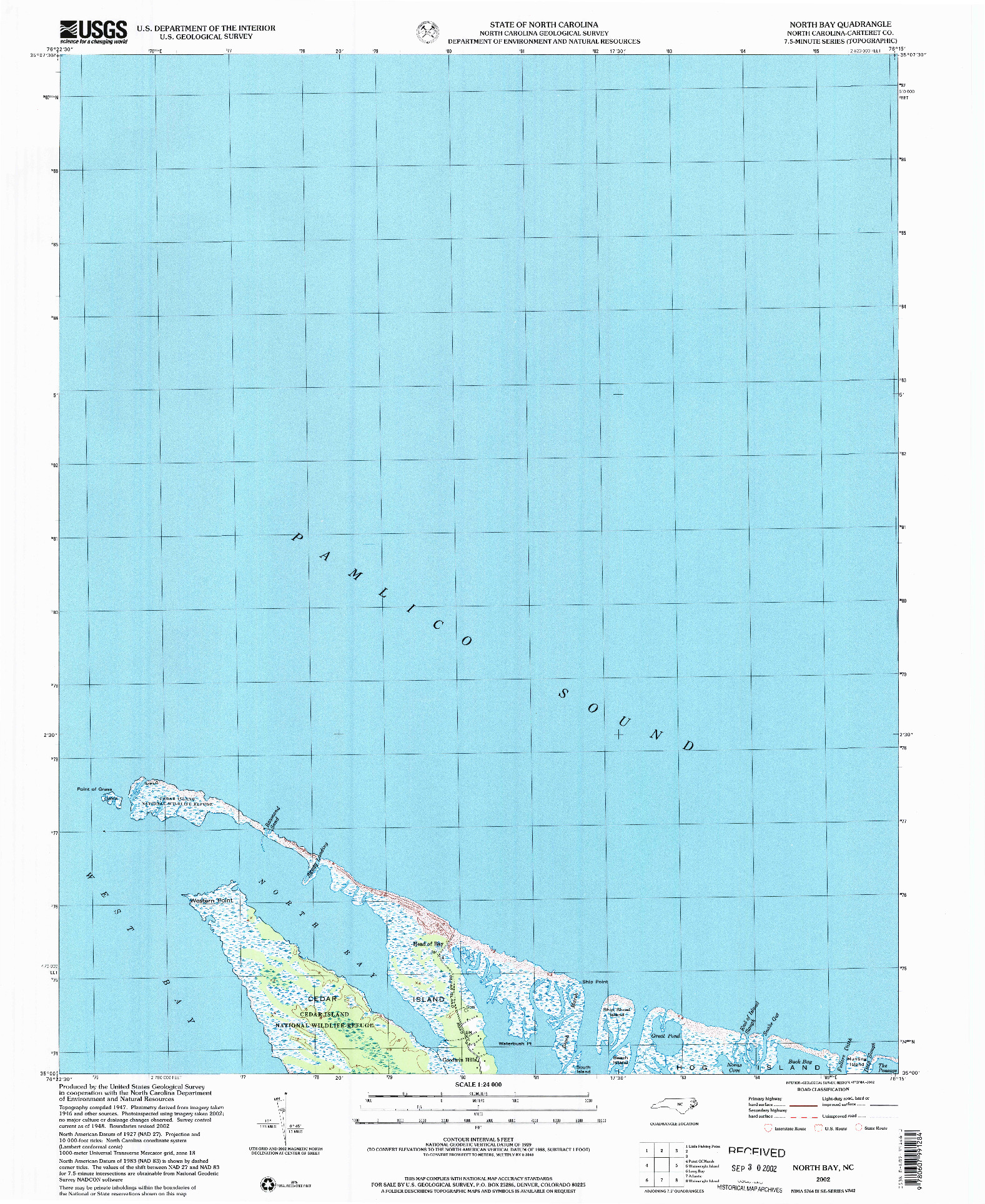 USGS 1:24000-SCALE QUADRANGLE FOR NORTH BAY, NC 2002