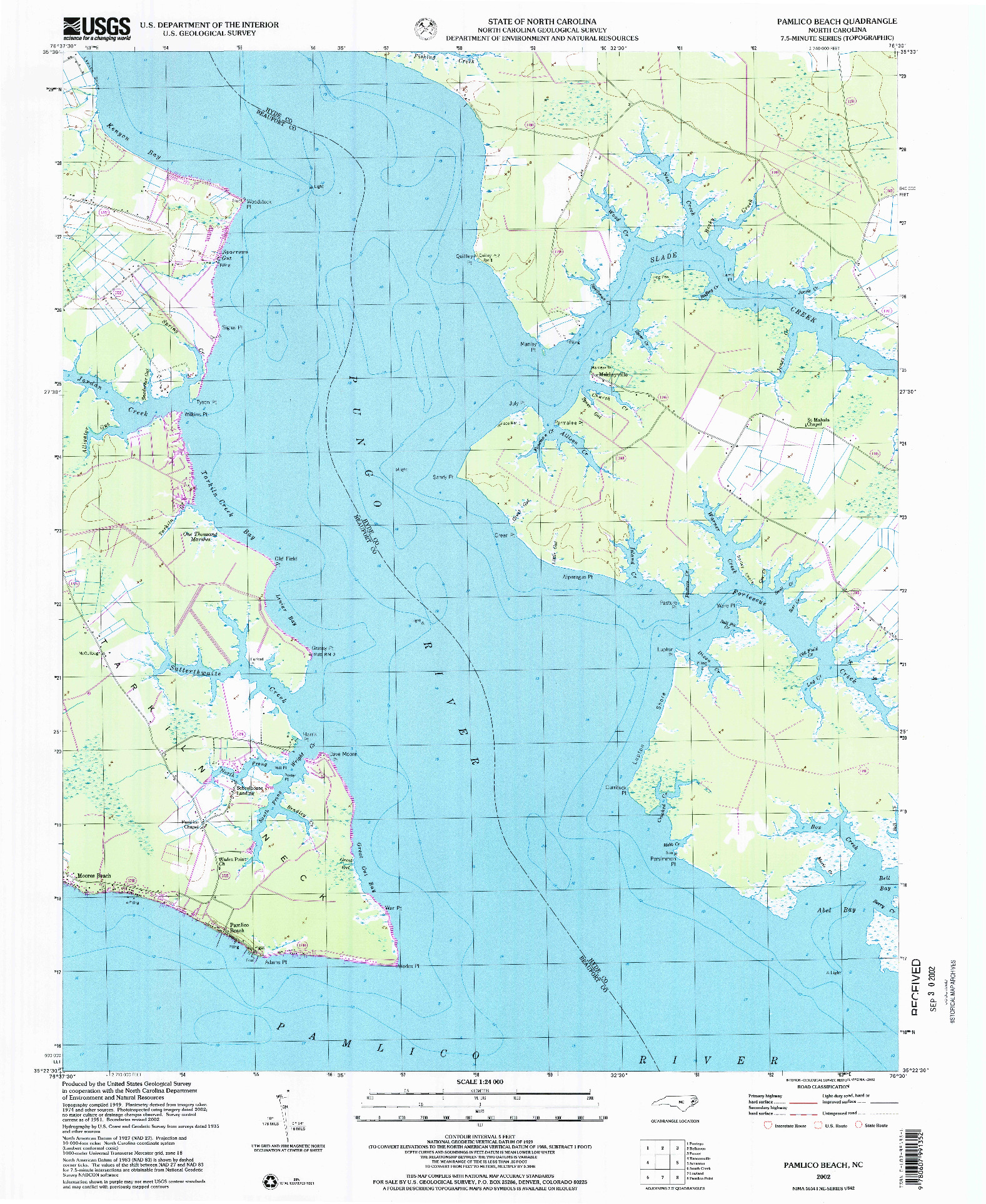 USGS 1:24000-SCALE QUADRANGLE FOR PAMLICO BEACH, NC 2002