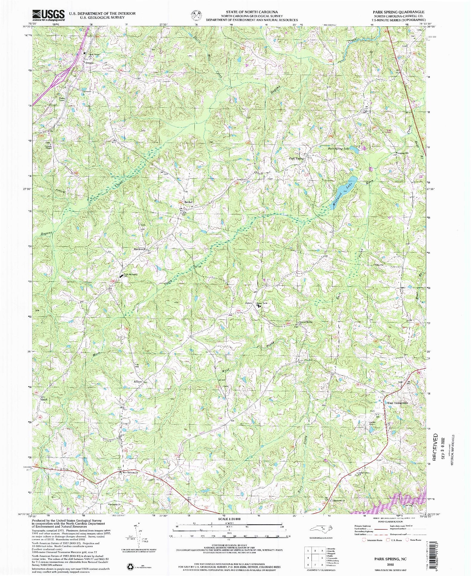 USGS 1:24000-SCALE QUADRANGLE FOR PARK SPRING, NC 2002