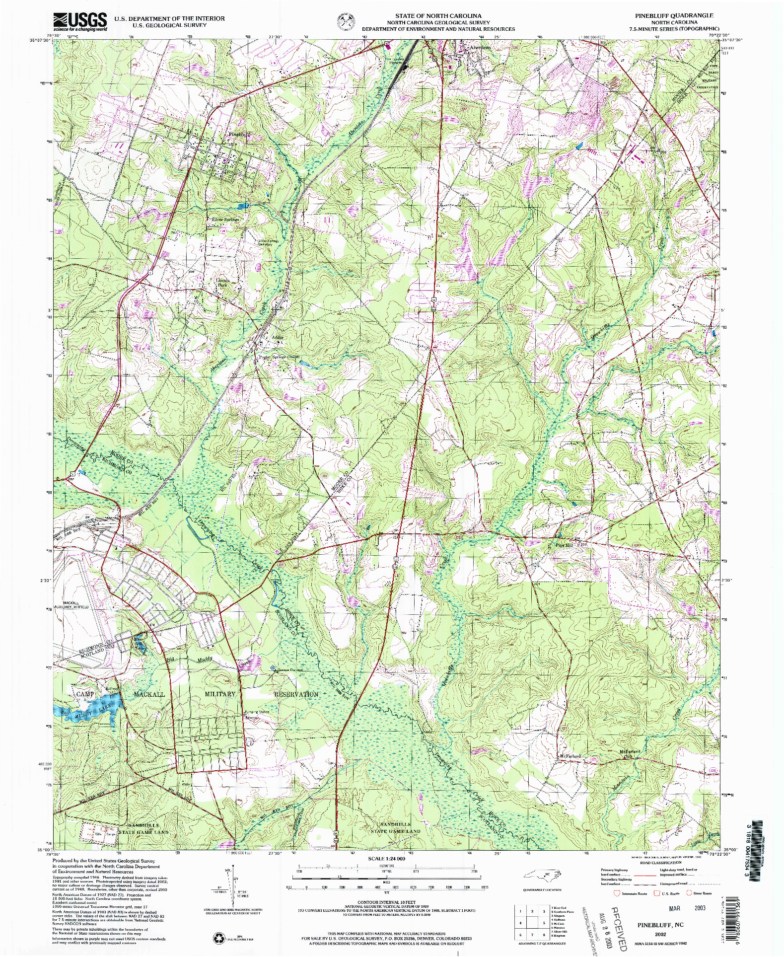 USGS 1:24000-SCALE QUADRANGLE FOR PINEBLUFF, NC 2002